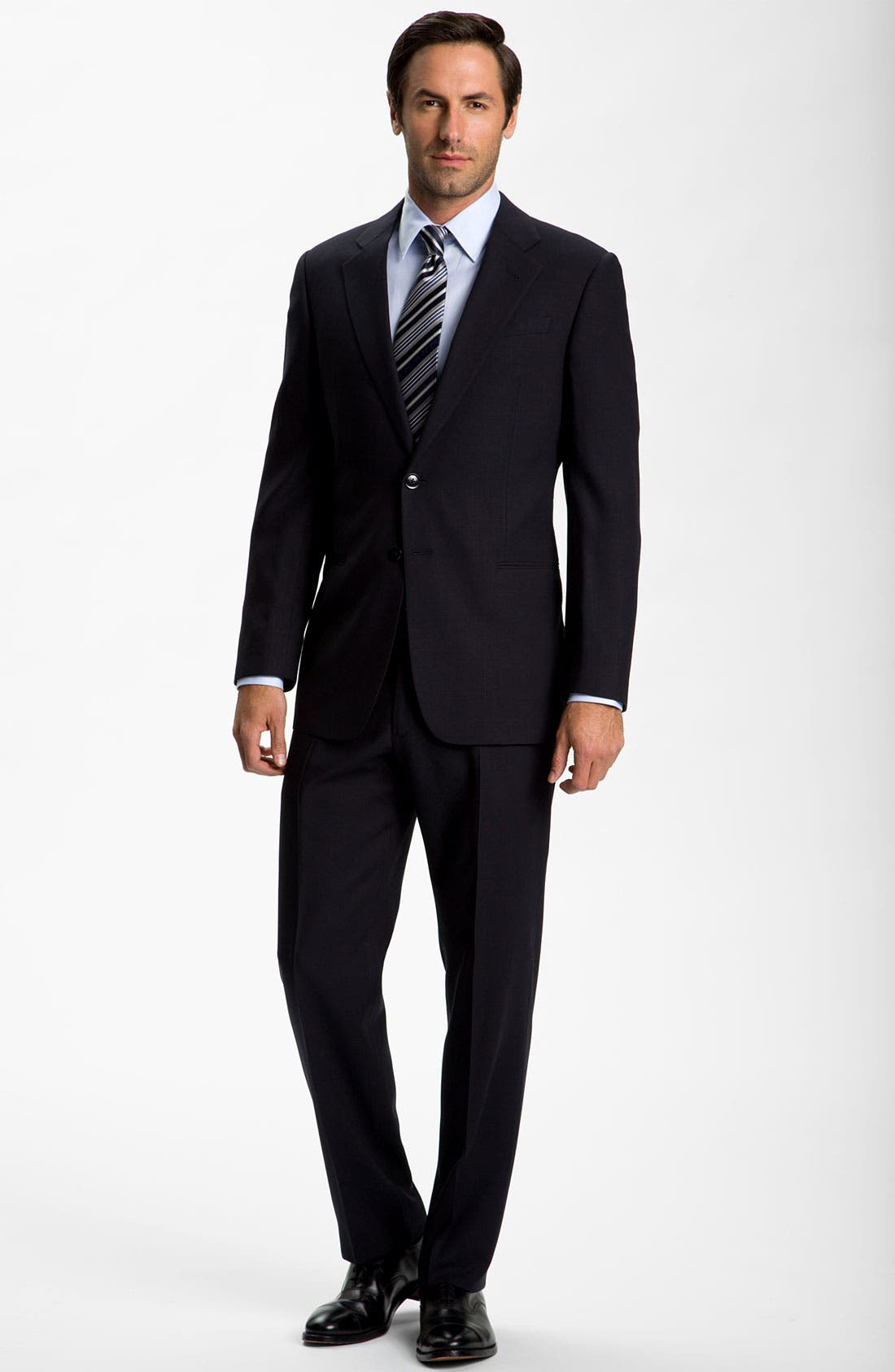 Main Image - Armani Collezioni Trim Fit Black Wool Suit