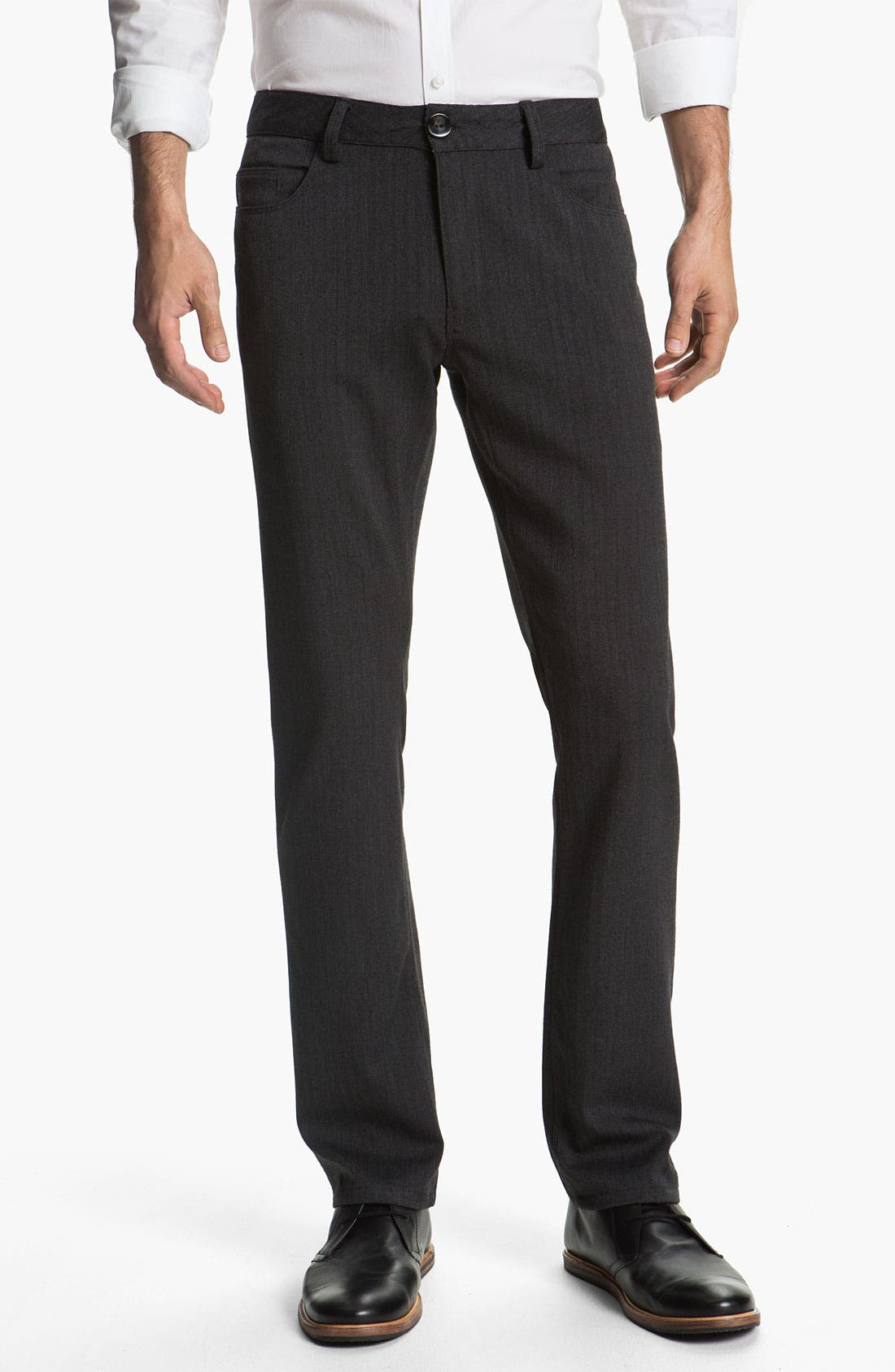 Main Image - Alex Maine Flat Front Herringbone Pants