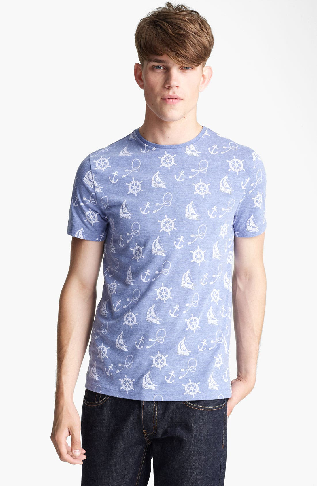 Alternate Image 1 Selected - Topman 'Nautical' All Over Print T-Shirt