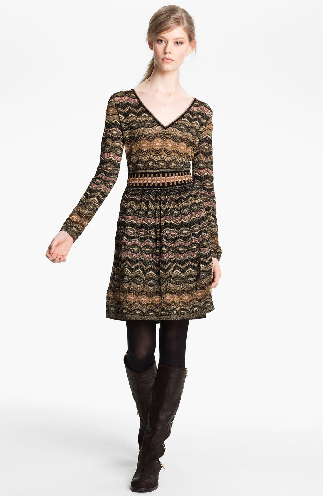 Alternate Image 1 Selected - M Missoni Zigzag Metallic Knit Dress