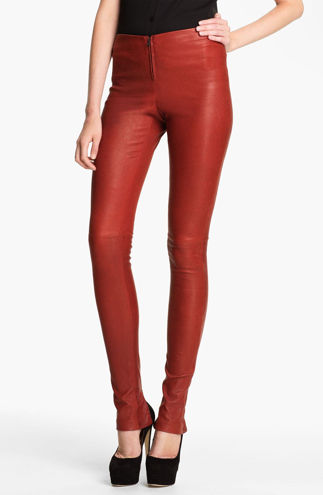 Alternate Image 1 Selected - Alice + Olivia Skinny Lambskin Leather Leggings