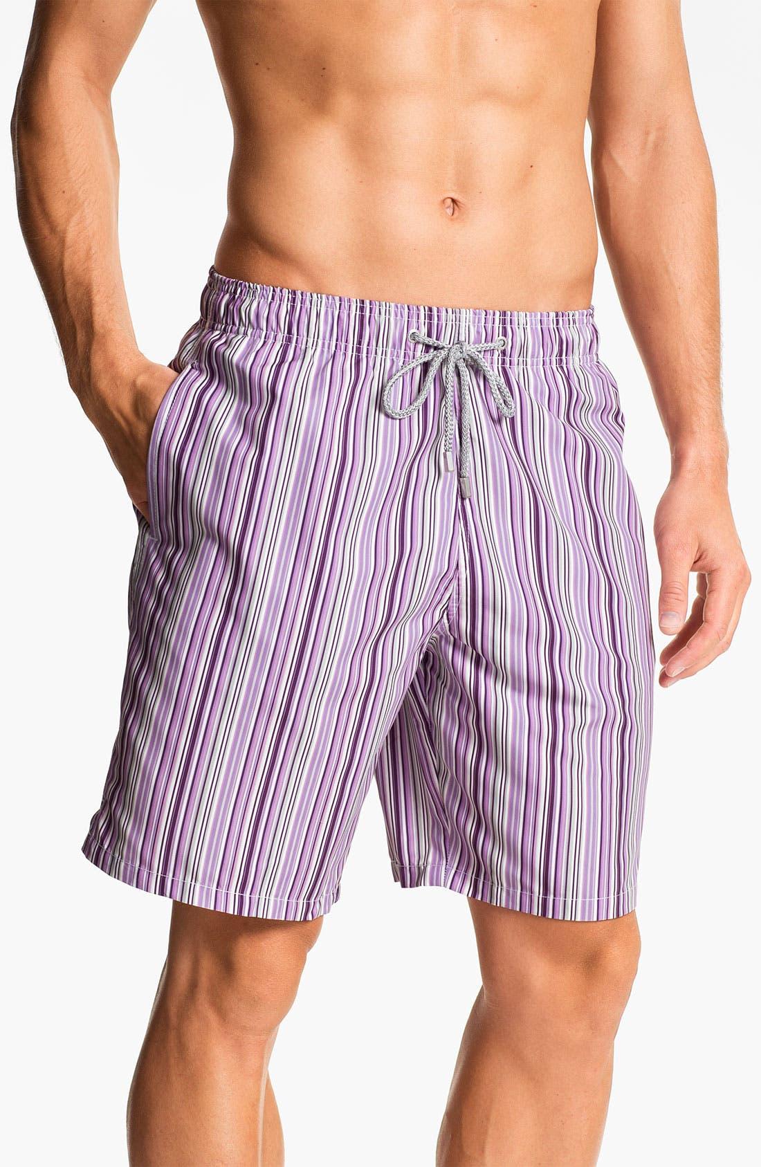 Main Image - Bugatchi Uomo Stripe Board Shorts