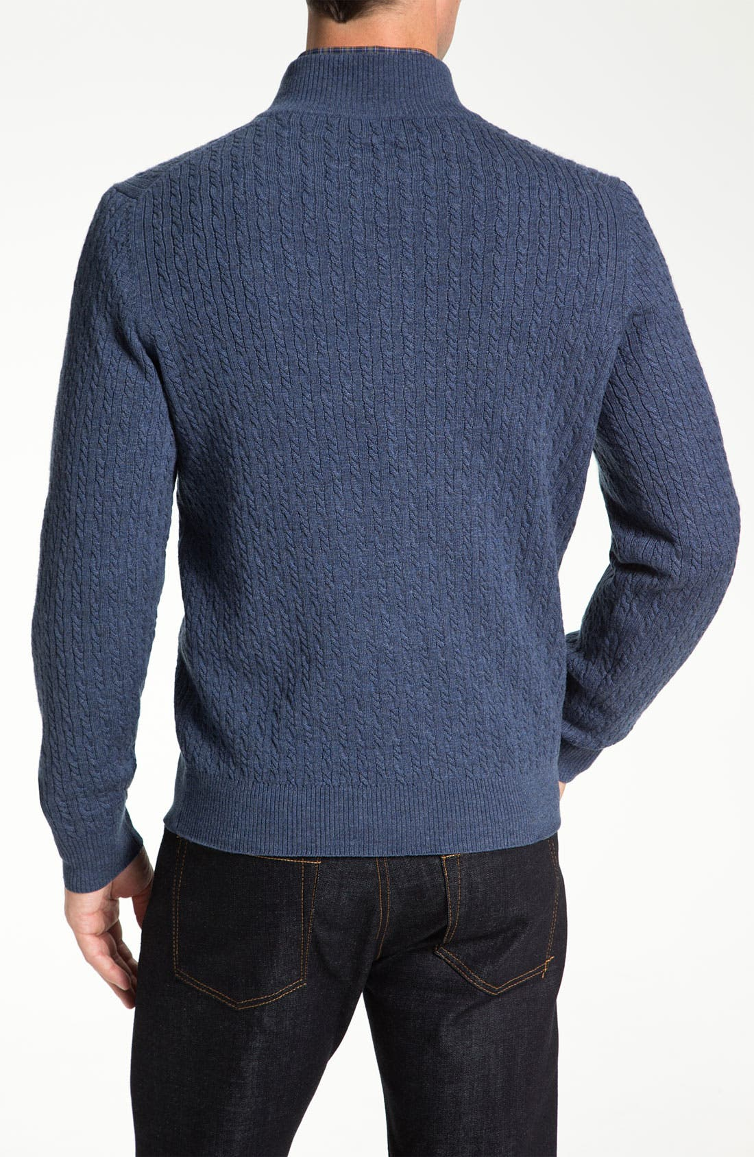 Alternate Image 2  - Robert Talbott Cable Knit Merino Wool Sweater (Online Only)