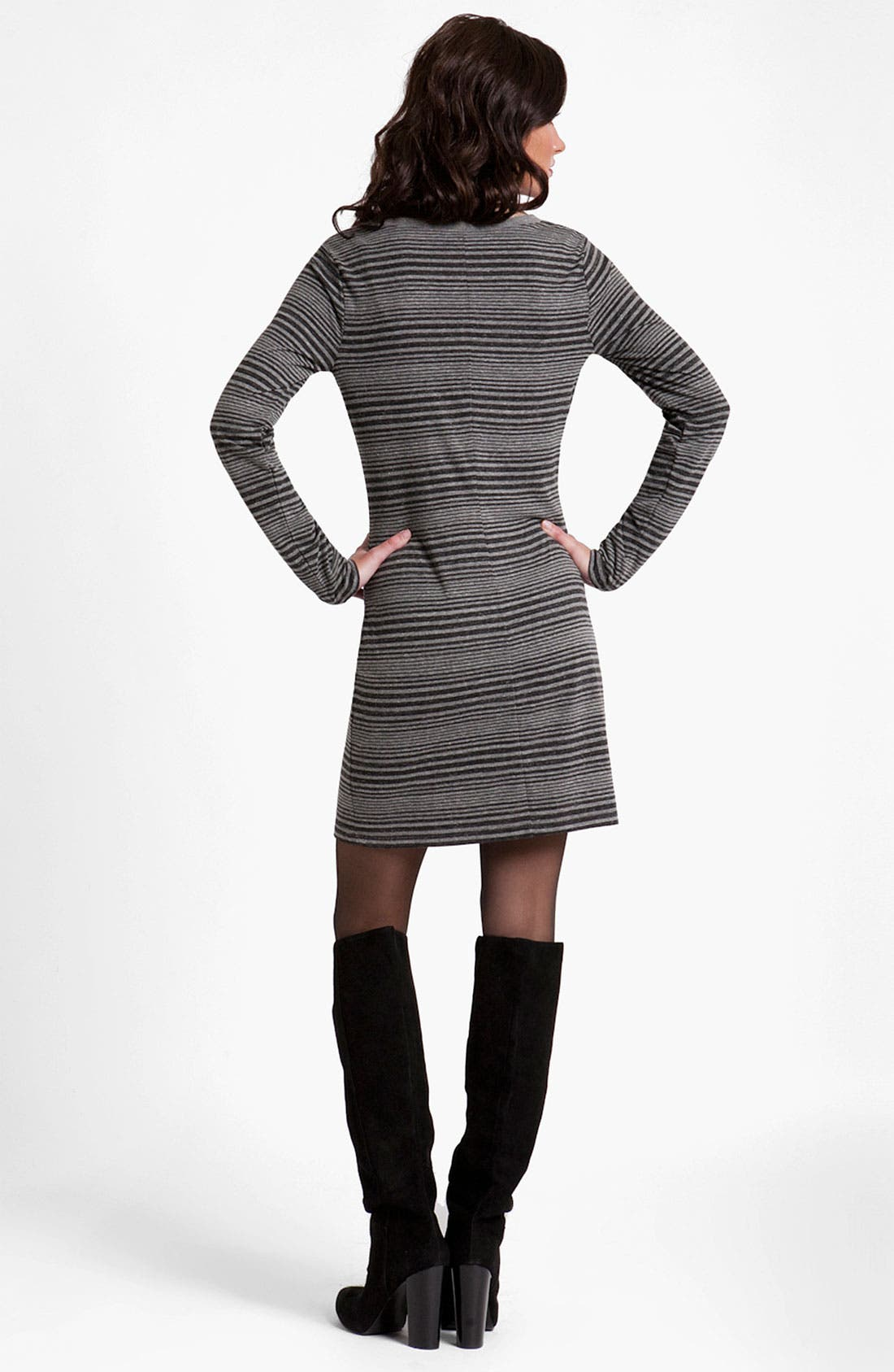 Alternate Image 2  - Three Dots Long Sleeve Stripe Sweater Dress