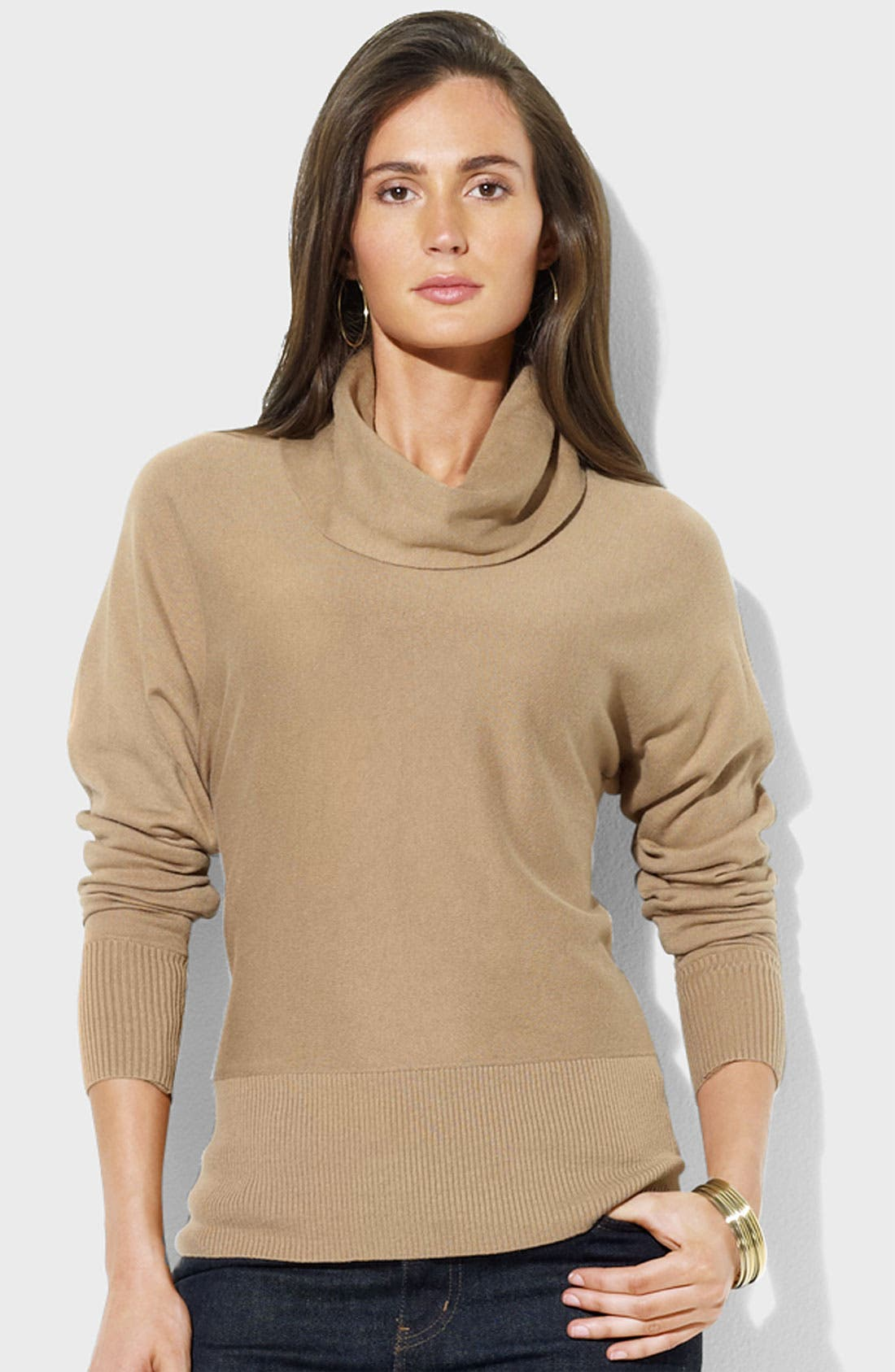 Alternate Image 1 Selected - Lauren Ralph Lauren Cowl Neck Top (Petite)