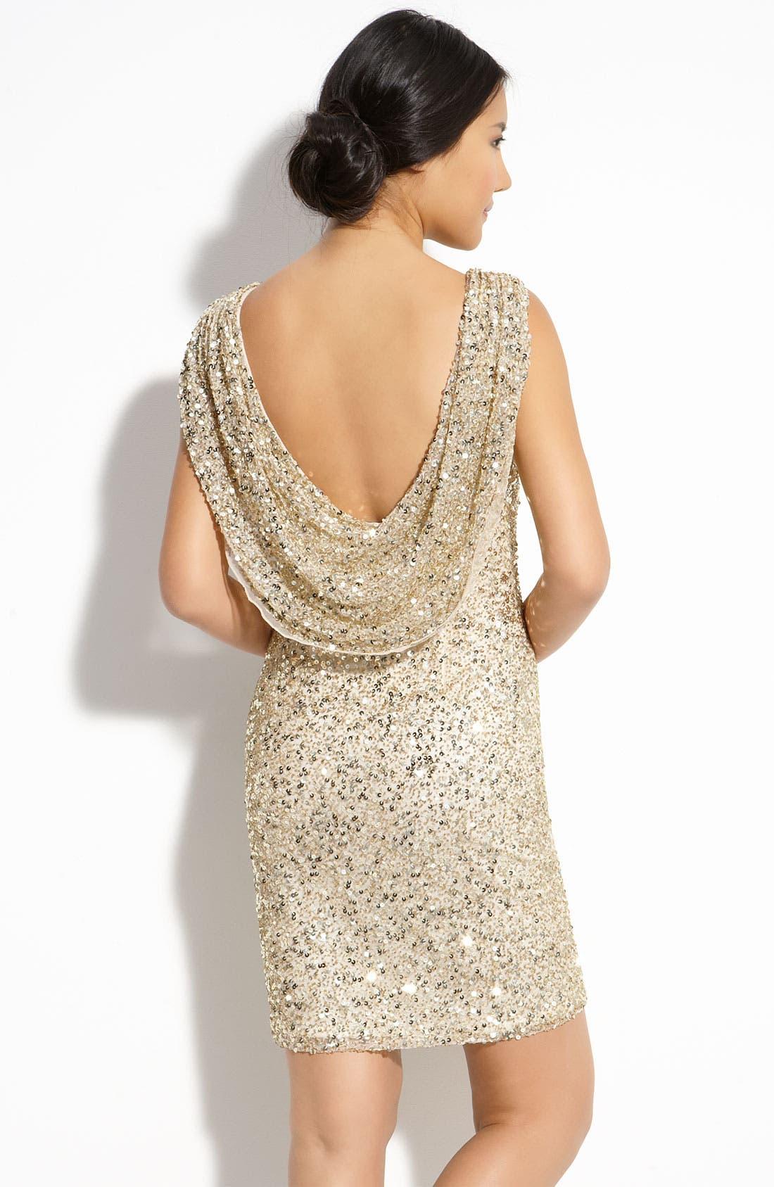 Alternate Image 2  - Pisarro Nights Drape Back Sequin Dress (Petite)