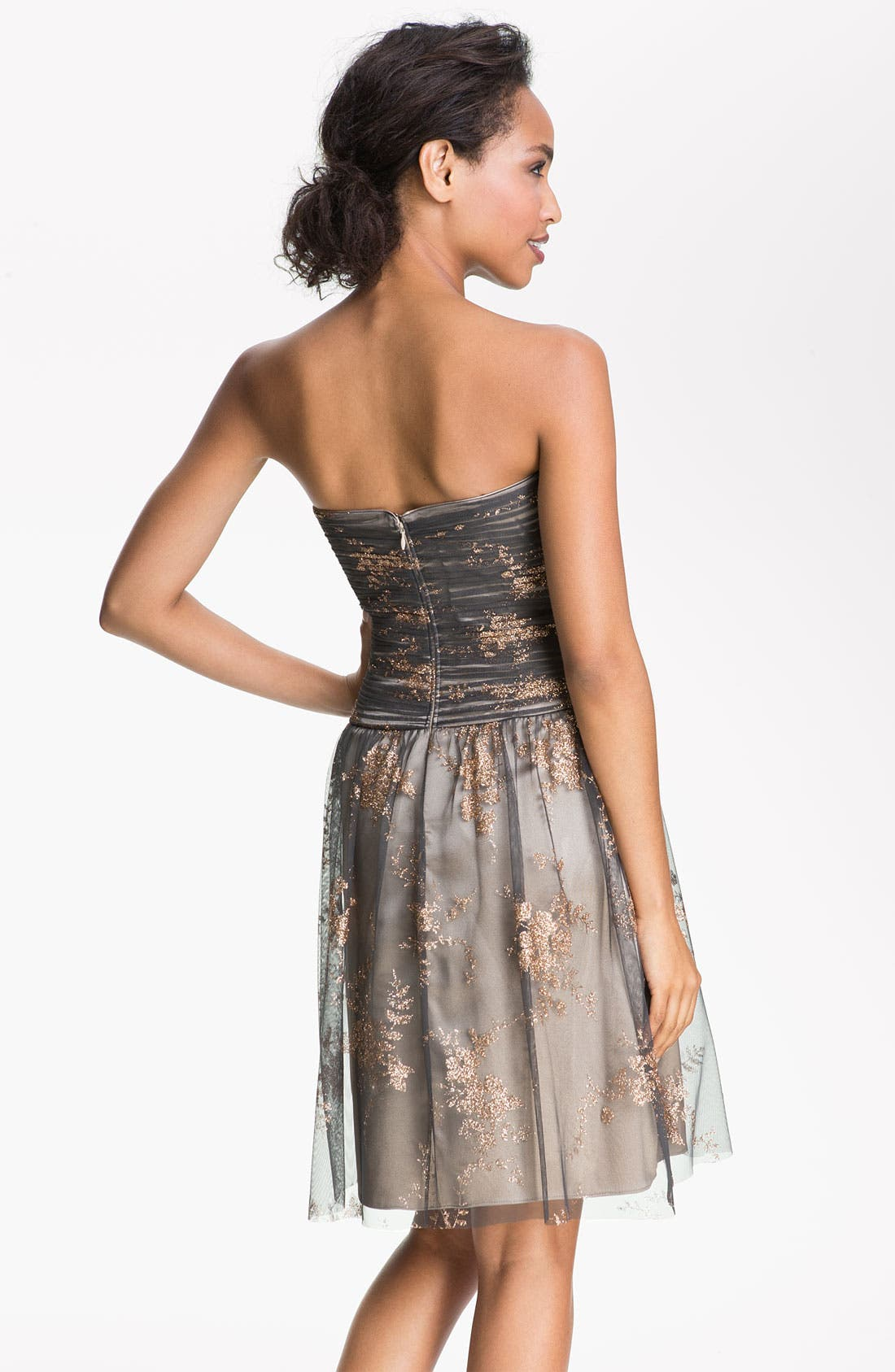 Alternate Image 2  - Hailey by Adrianna Papell Strapless Glitter Tulle Dress