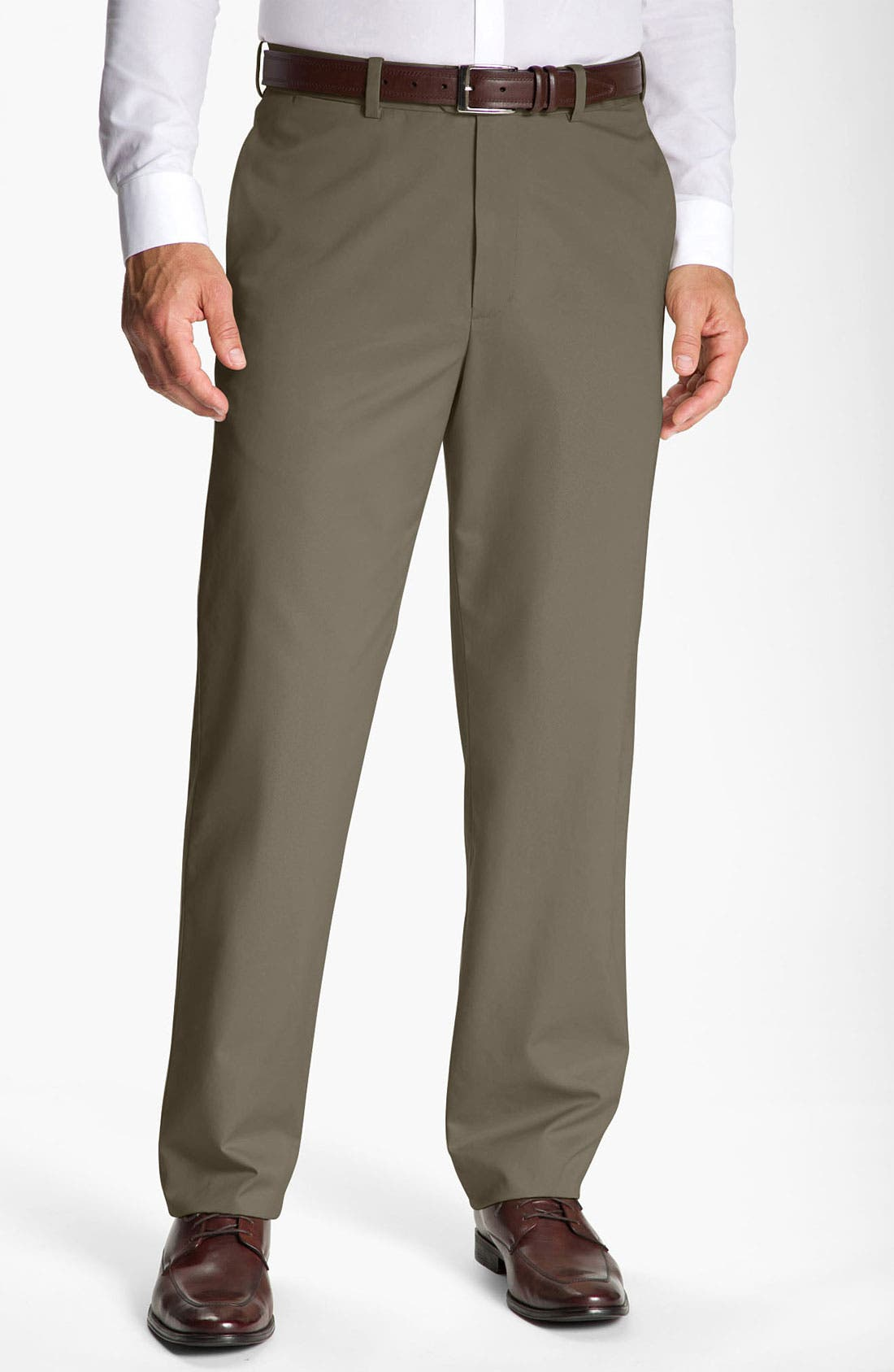 Main Image - John W. Nordstrom® Smartcare™ Flat Front Supima® Cotton Pants