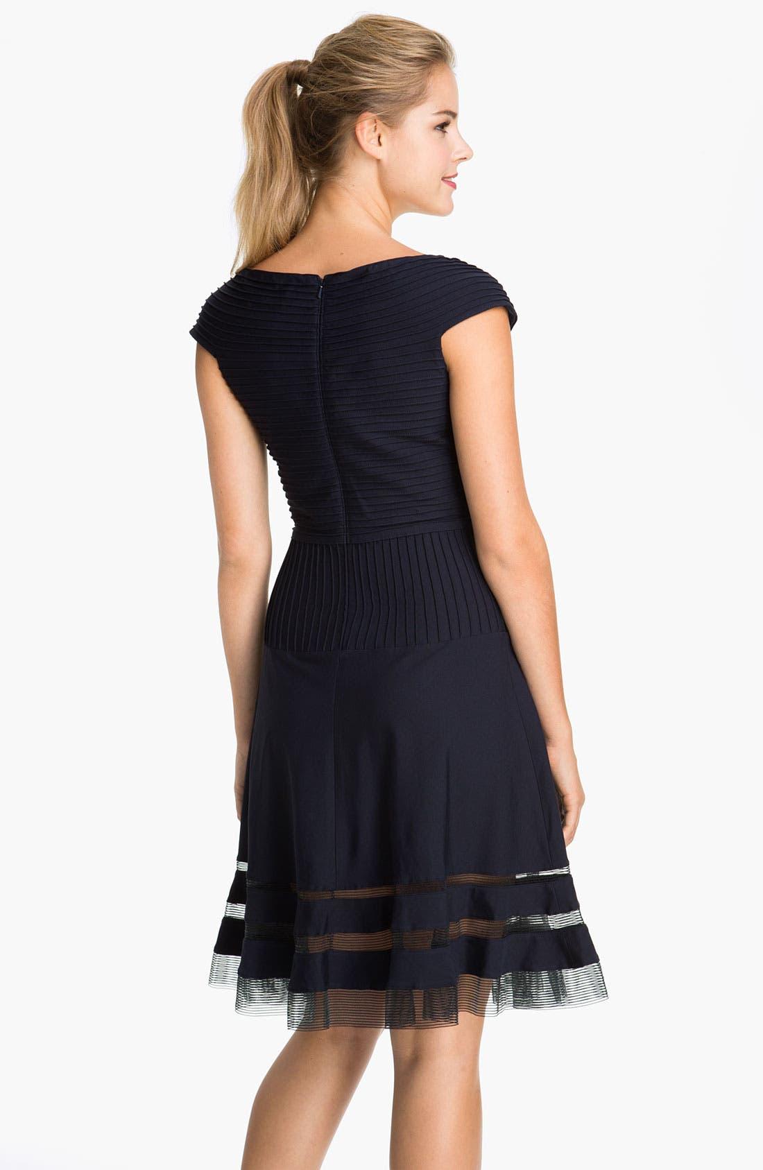 Alternate Image 2  - Tadashi Shoji V-Neck Tulle Trim Fit & Flare Dress