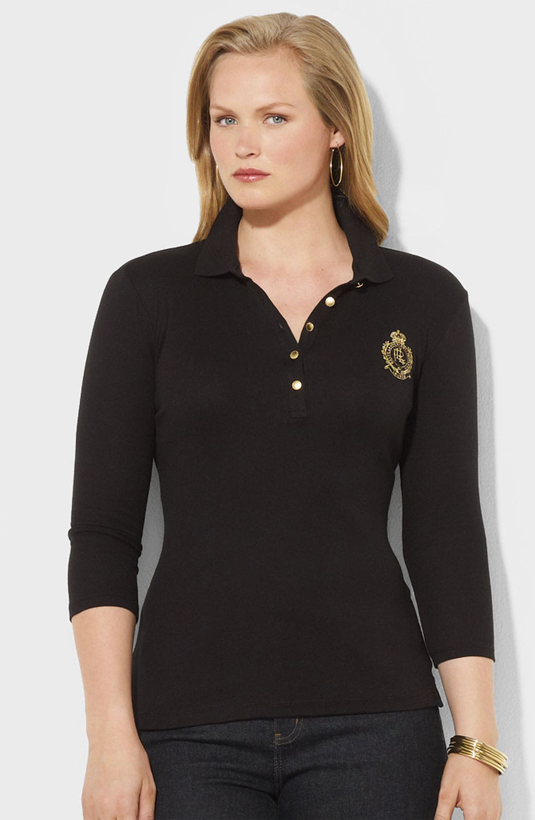 Alternate Image 1 Selected - Lauren Ralph Lauren Crest Polo (Plus)