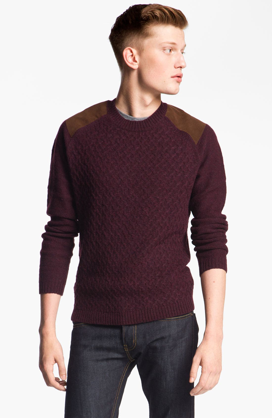 Alternate Image 1 Selected - Topman Cable Knit Crewneck Sweater