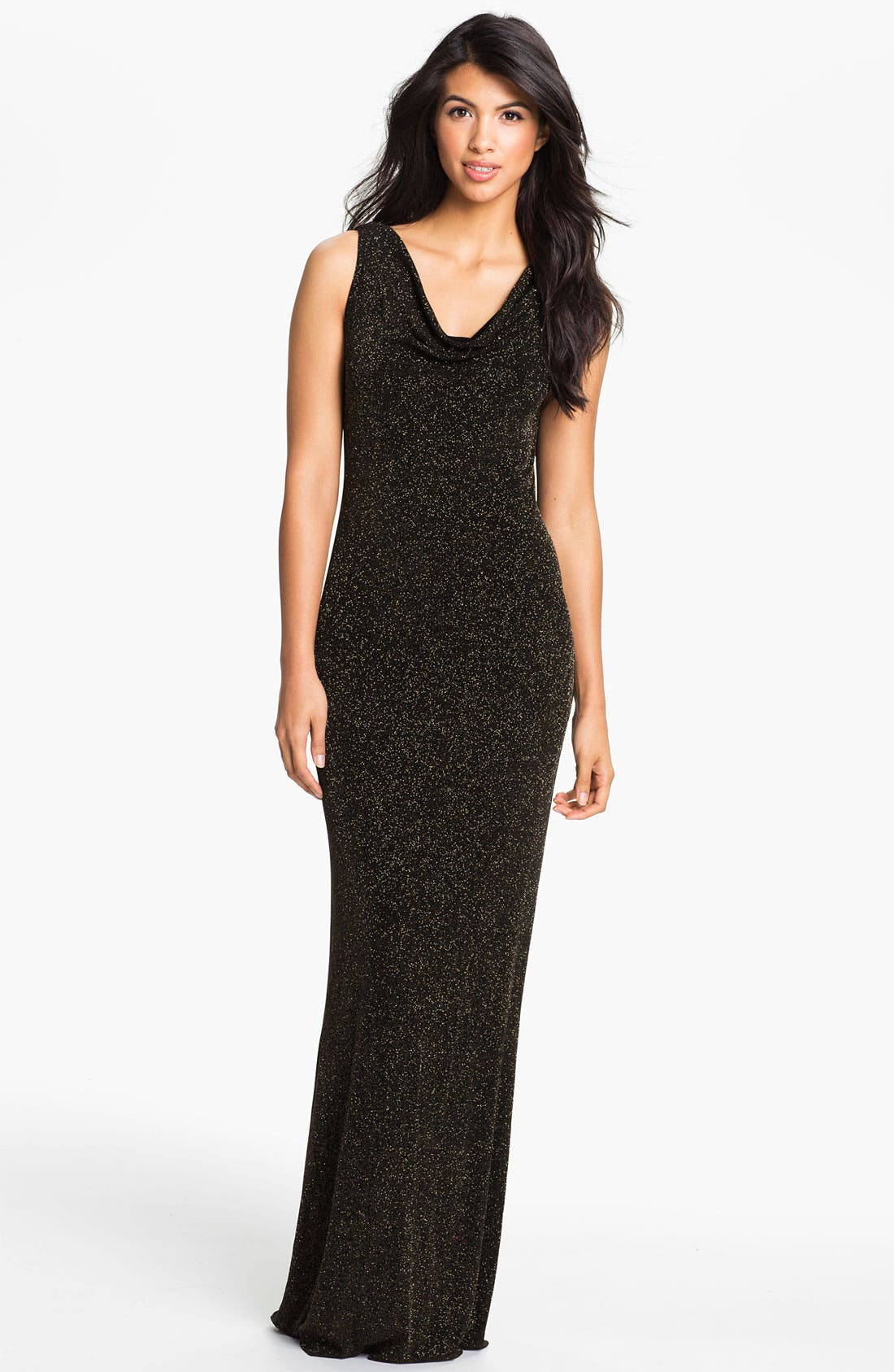 Main Image - Adrianna Papell Drape Back Glitter Jersey Gown