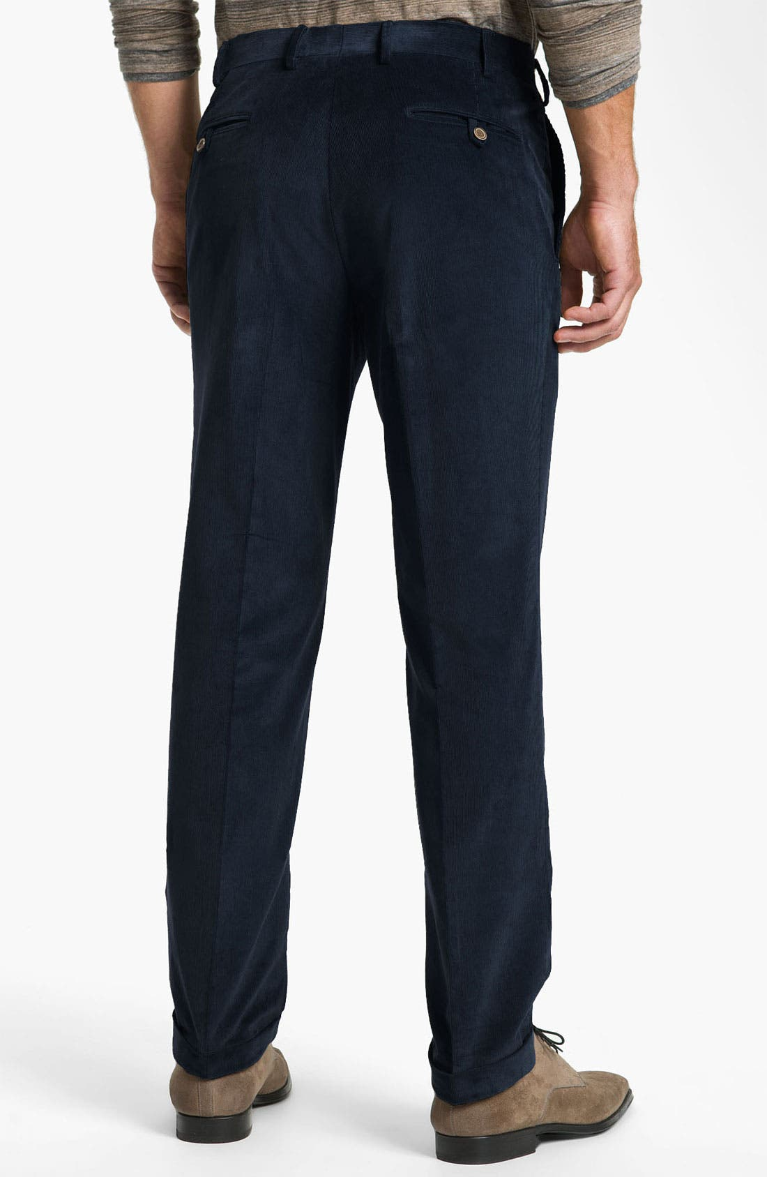 Alternate Image 2  - Canali Flat Front Corduroy Pants