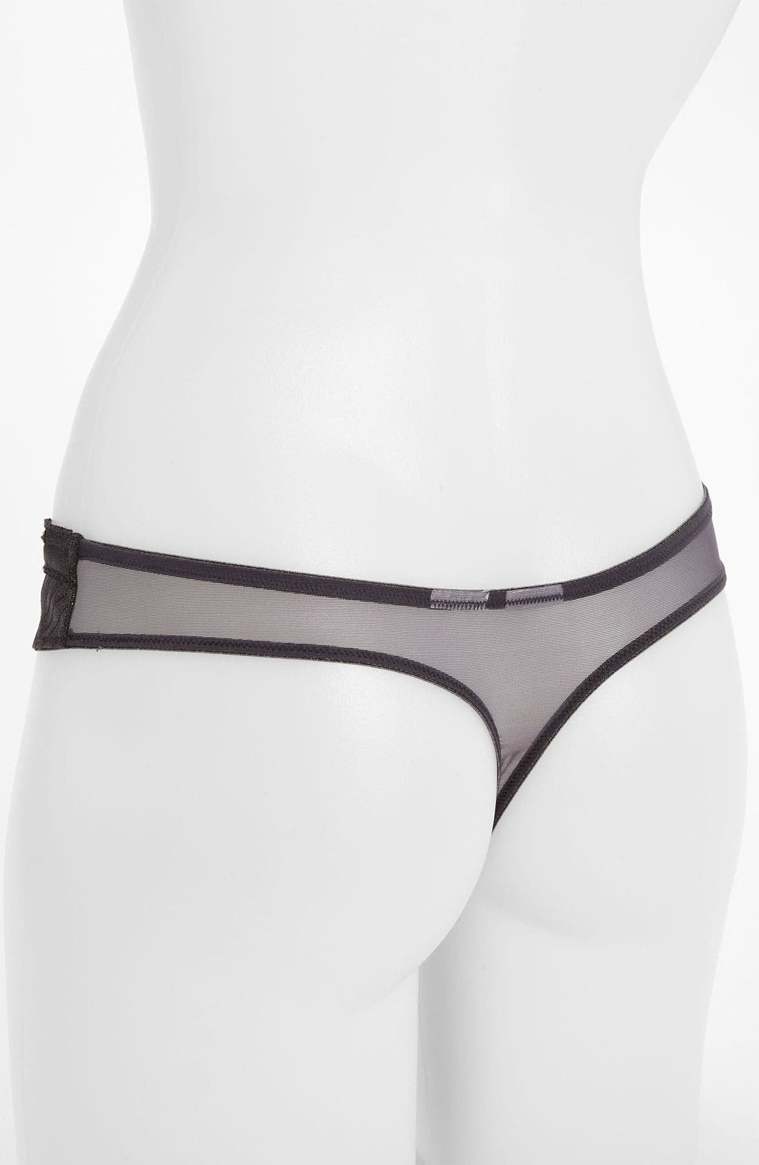 'Satin Structure' Thong,                             Alternate thumbnail 2, color,                             Gunmetal