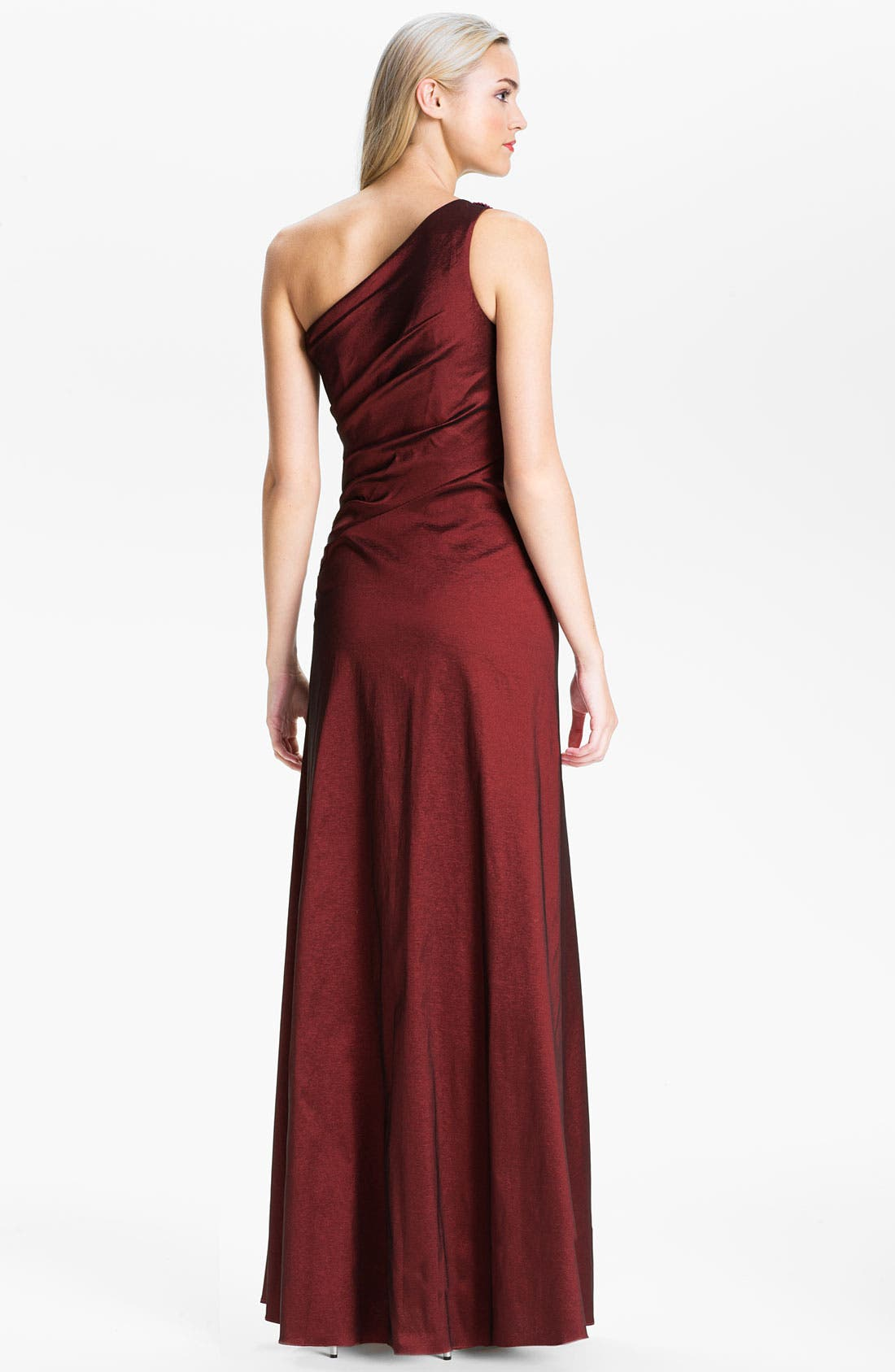 Alternate Image 2  - Hailey by Adrianna Papell One Shoulder Pleated Taffeta Gown