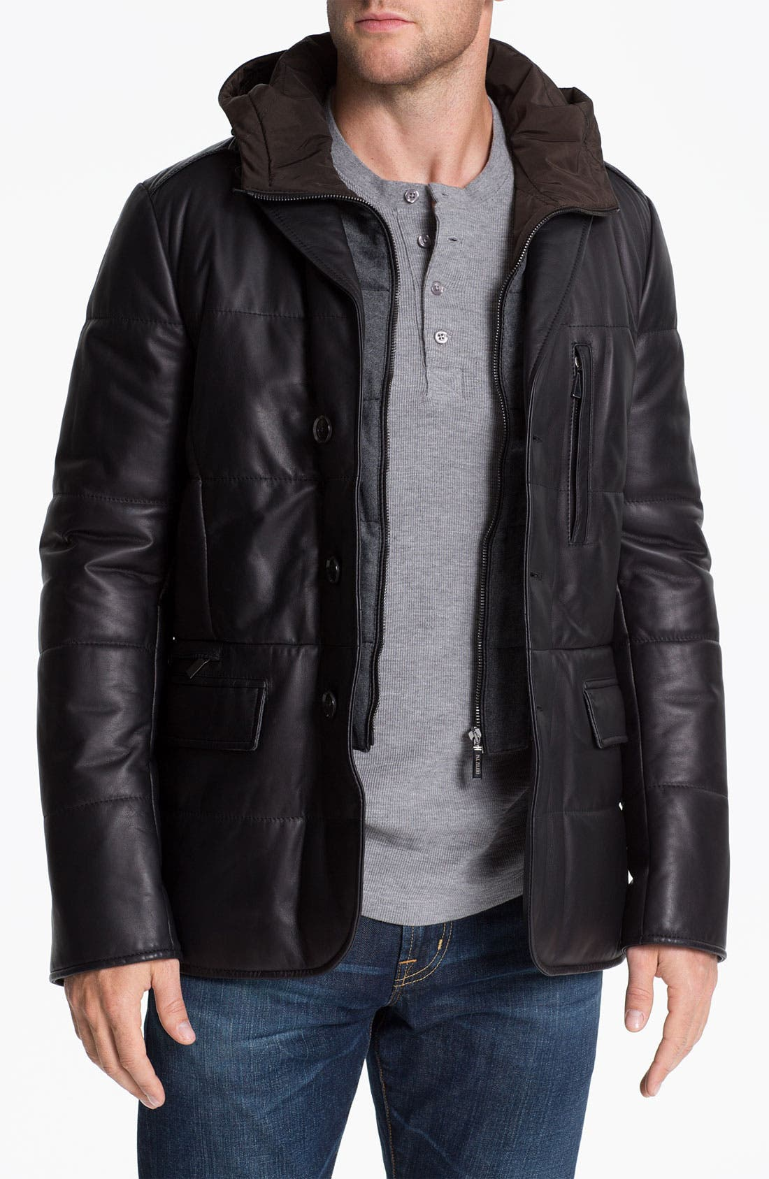 Alternate Image 1 Selected - Pal Zileri 'Napa' Hooded Leather Jacket