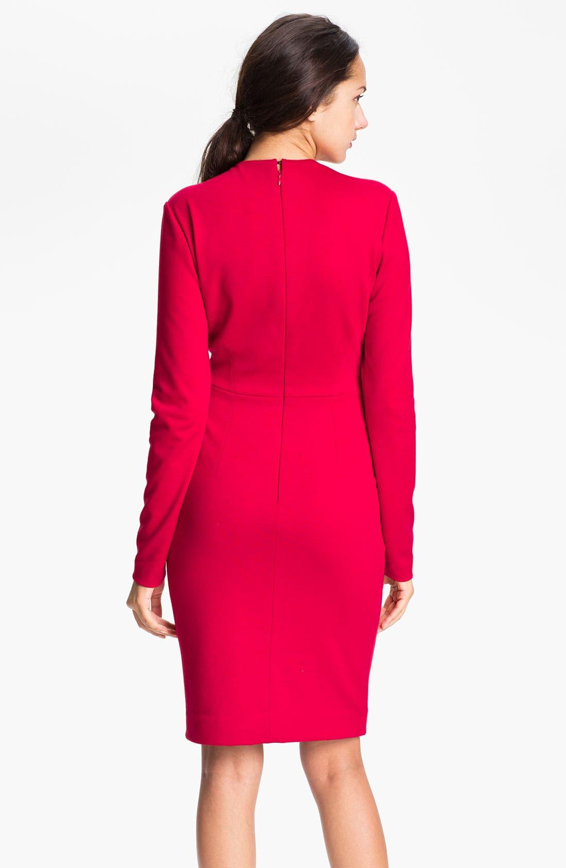 Alternate Image 2  - Carmen Marc Valvo Deep-V Knit Sheath Dress