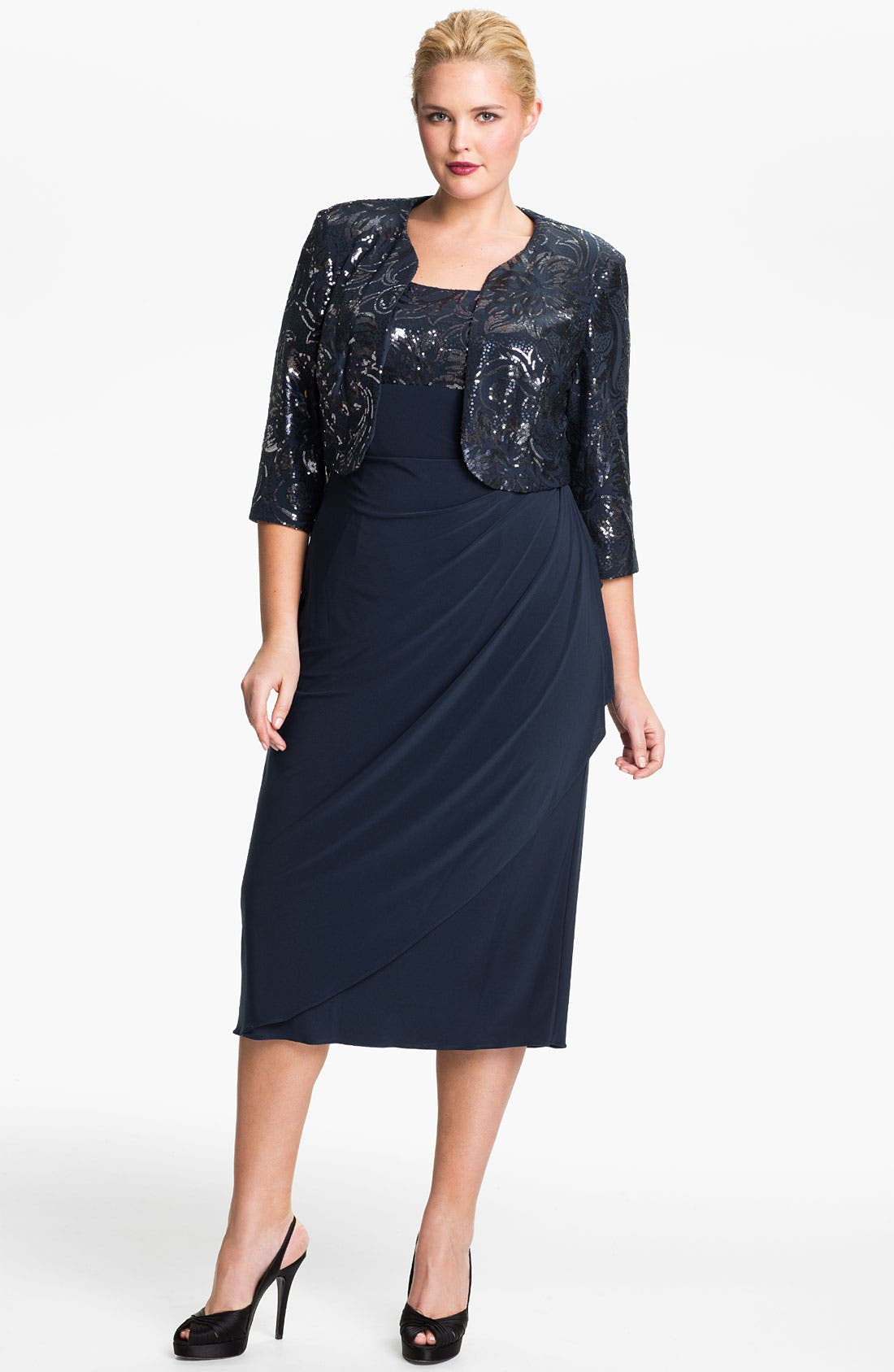 Alternate Image 1 Selected - Alex Evenings Sequin Faux Wrap Dress & Jacket (Plus)