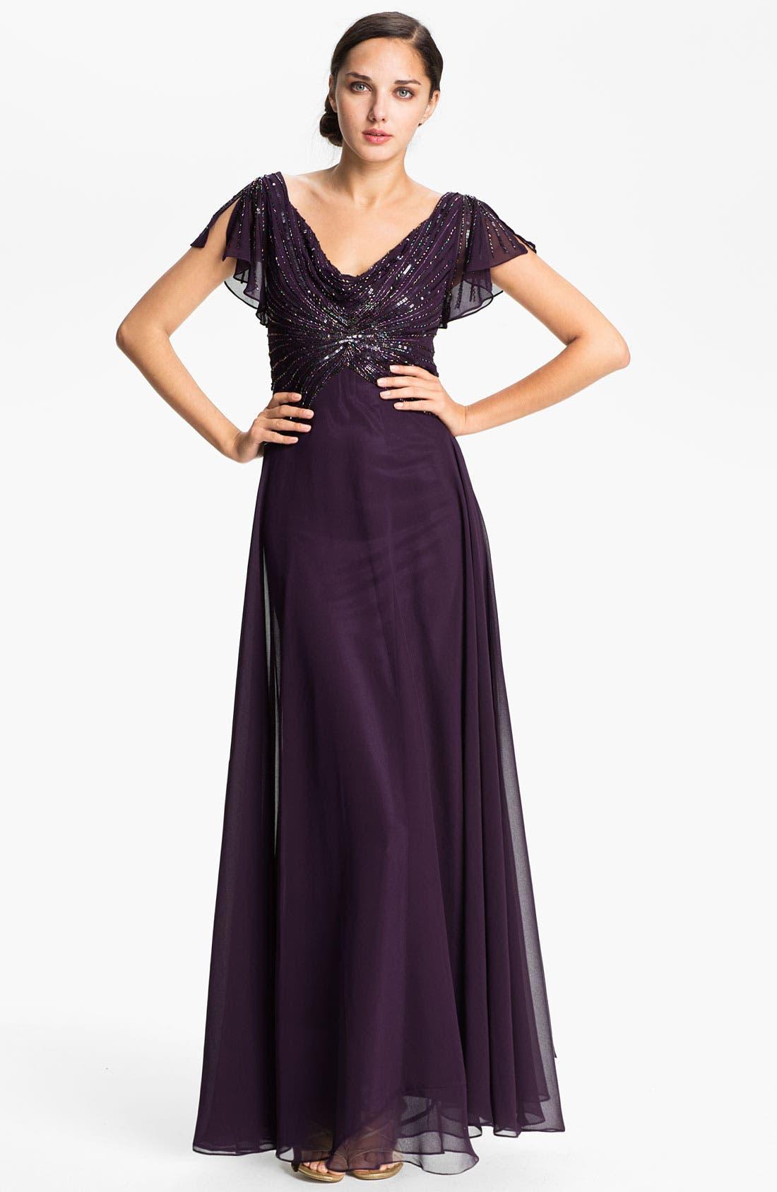 Main Image - J Kara Embellished Drape Bodice Chiffon Gown