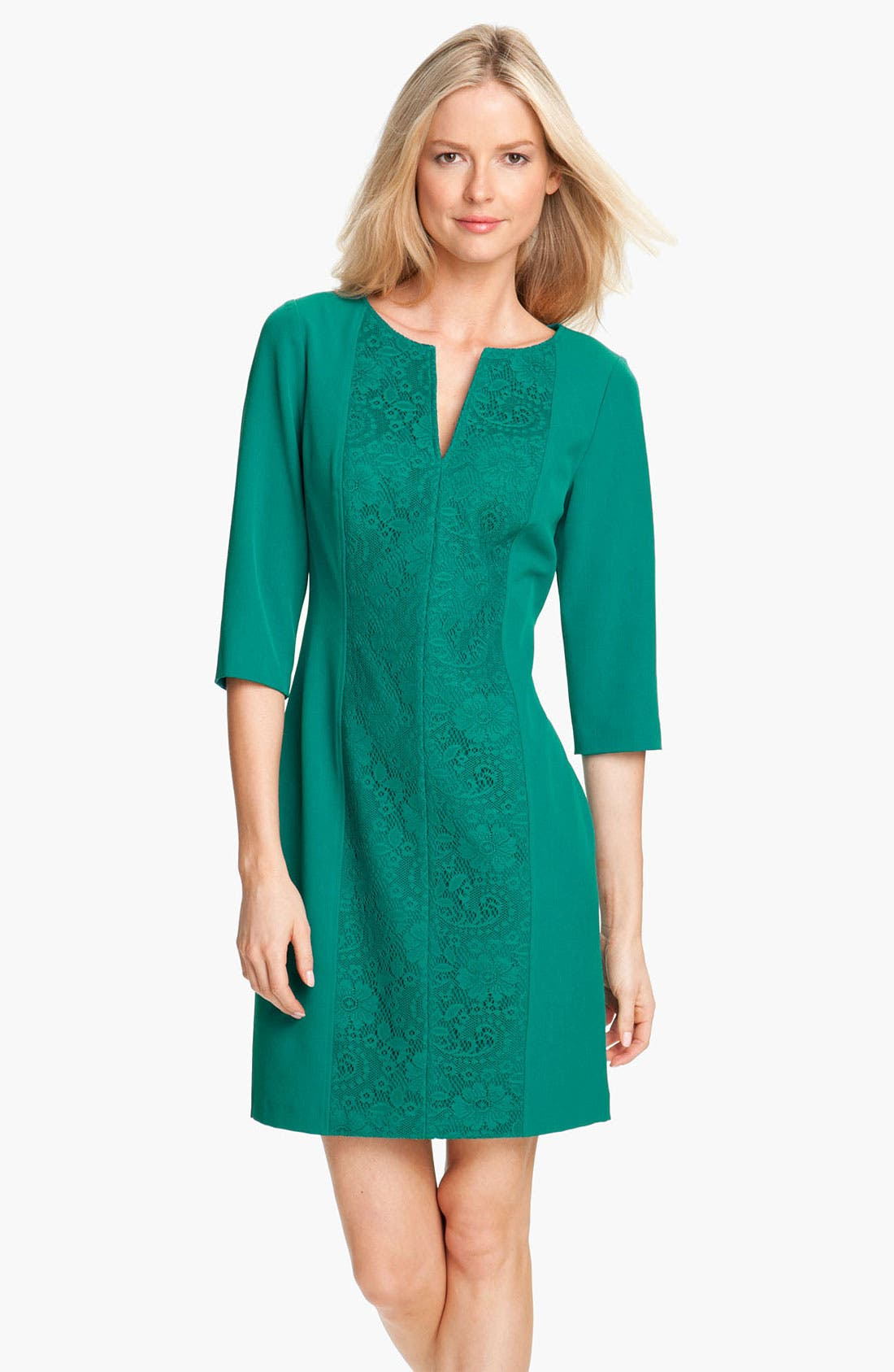 Alternate Image 1 Selected - Adrianna Papell Lace Inset Crepe Dress