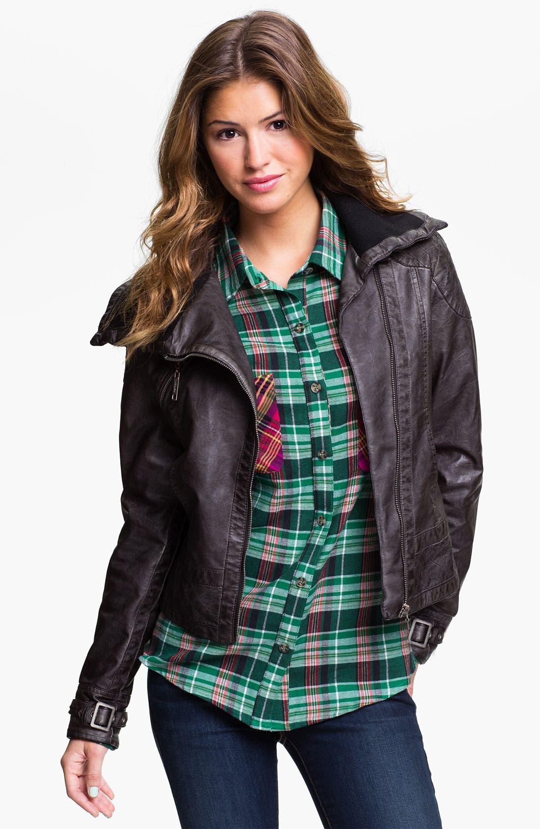 Main Image - Jou Jou Knit Collar Moto Jacket (Juniors)