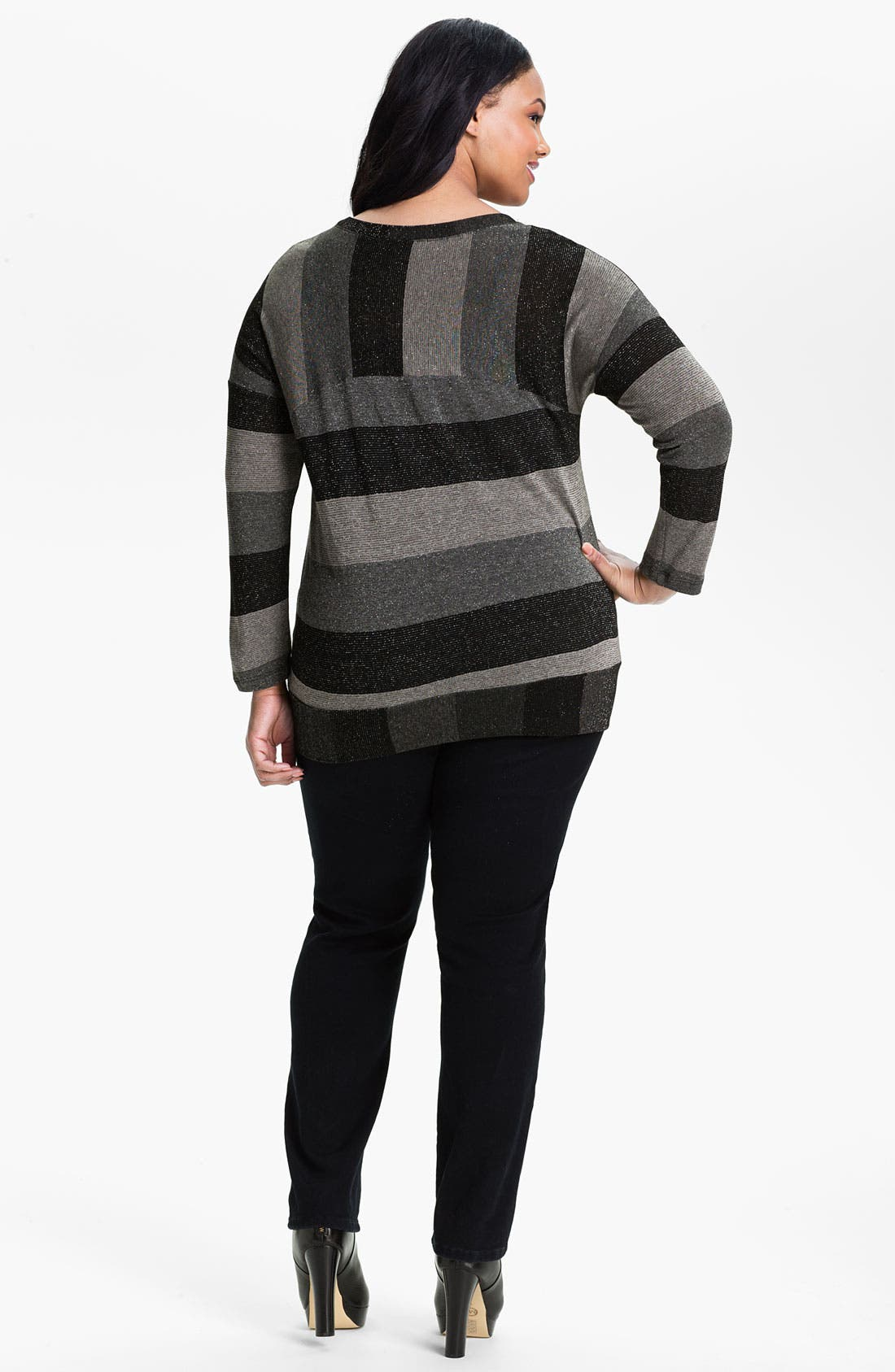 Alternate Image 2  - Splendid Metallic Stripe Pullover (Plus)
