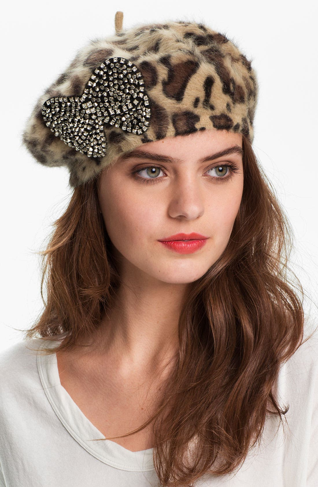 Main Image - Betsey Johnson Leopard Print Bow Beret