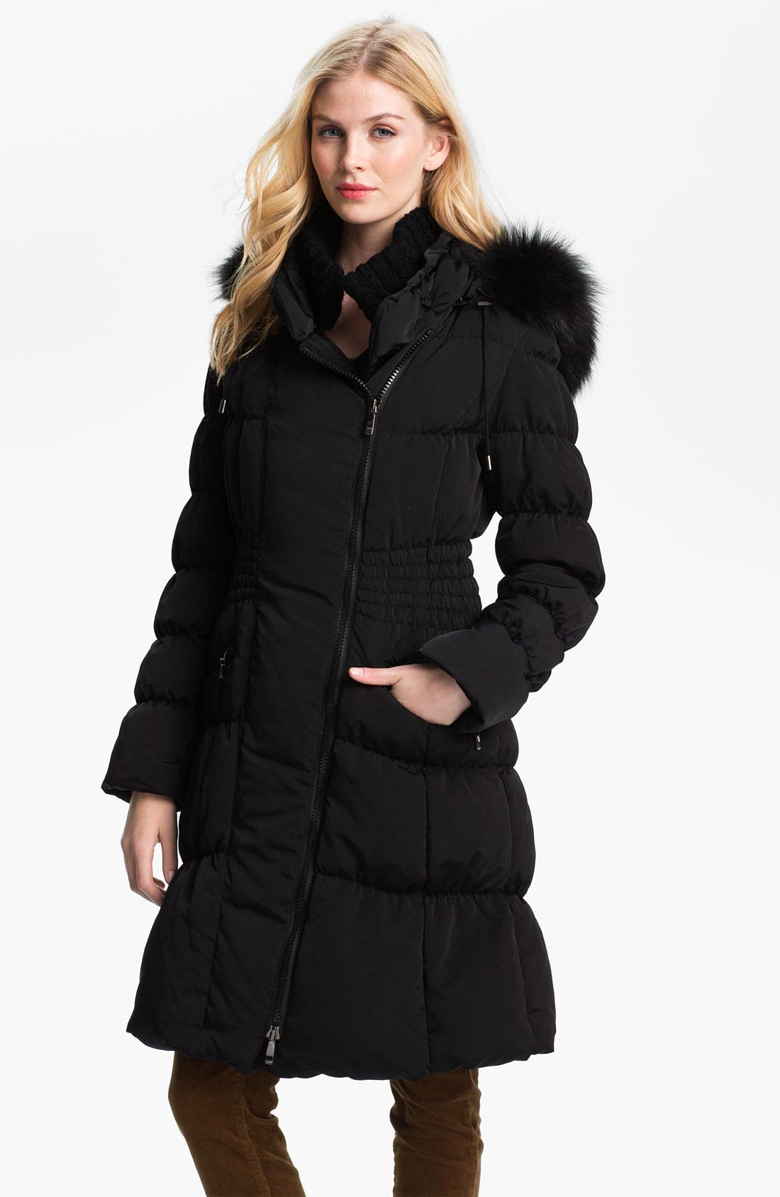 Main Image - 1 Madison Ruched Coat with Genuine Fox Fur