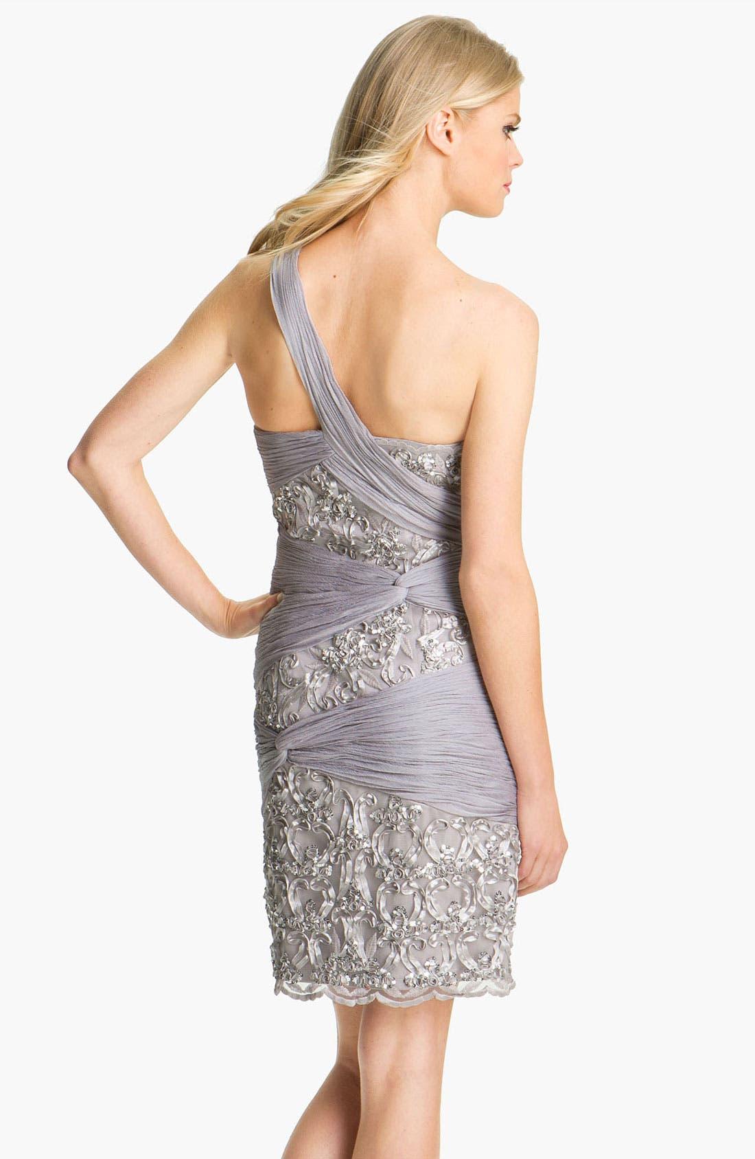 Alternate Image 2  - Sue Wong Ruched Chiffon Detail Embellished Sheath Dress