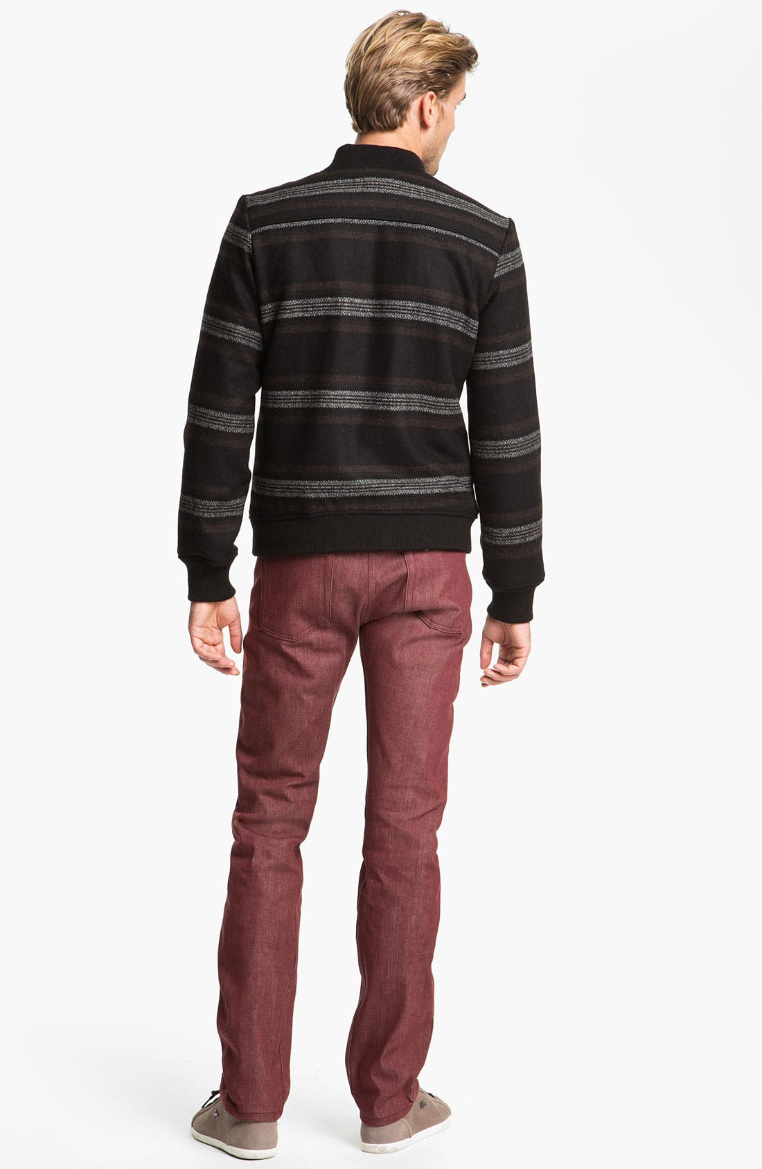 Alternate Image 6  - Naked & Famous Denim 'Weird Guy' Slim Tapered Leg Selvedge Jeans (Pomegranate Red)