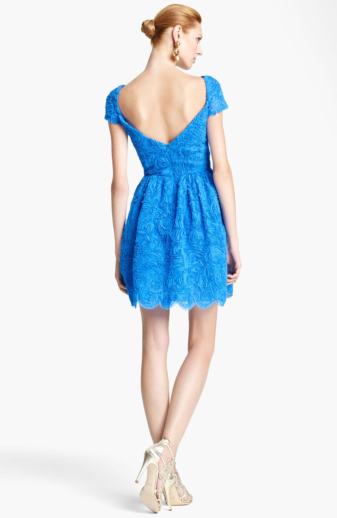 Alternate Image 2  - Oscar de la Renta Embroidered Cocktail Dress