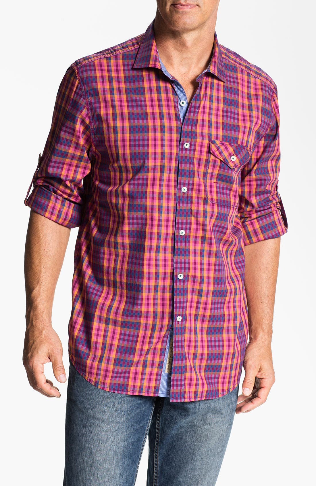 Alternate Image 1 Selected - Tommy Bahama Denim 'Checking In' Sport Shirt