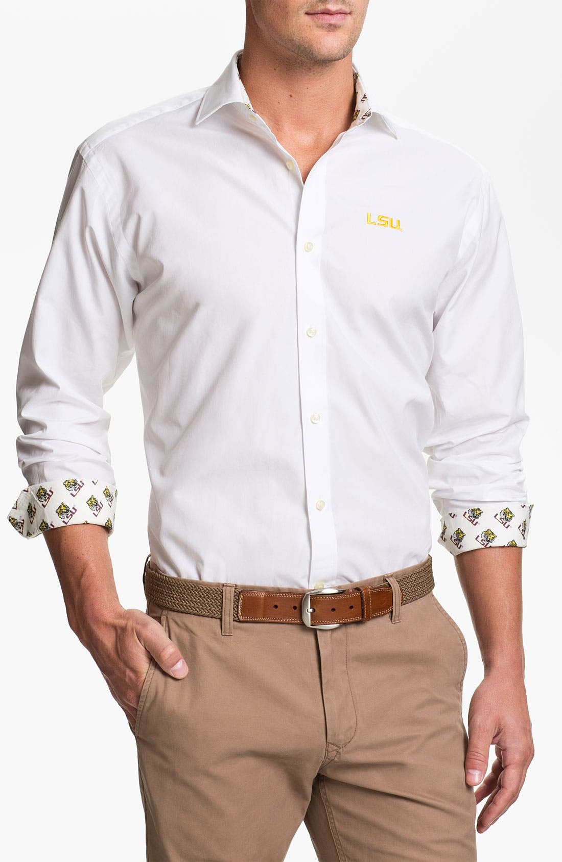 Alternate Image 1 Selected - Thomas Dean 'Louisiana State' Regular Fit Sport Shirt