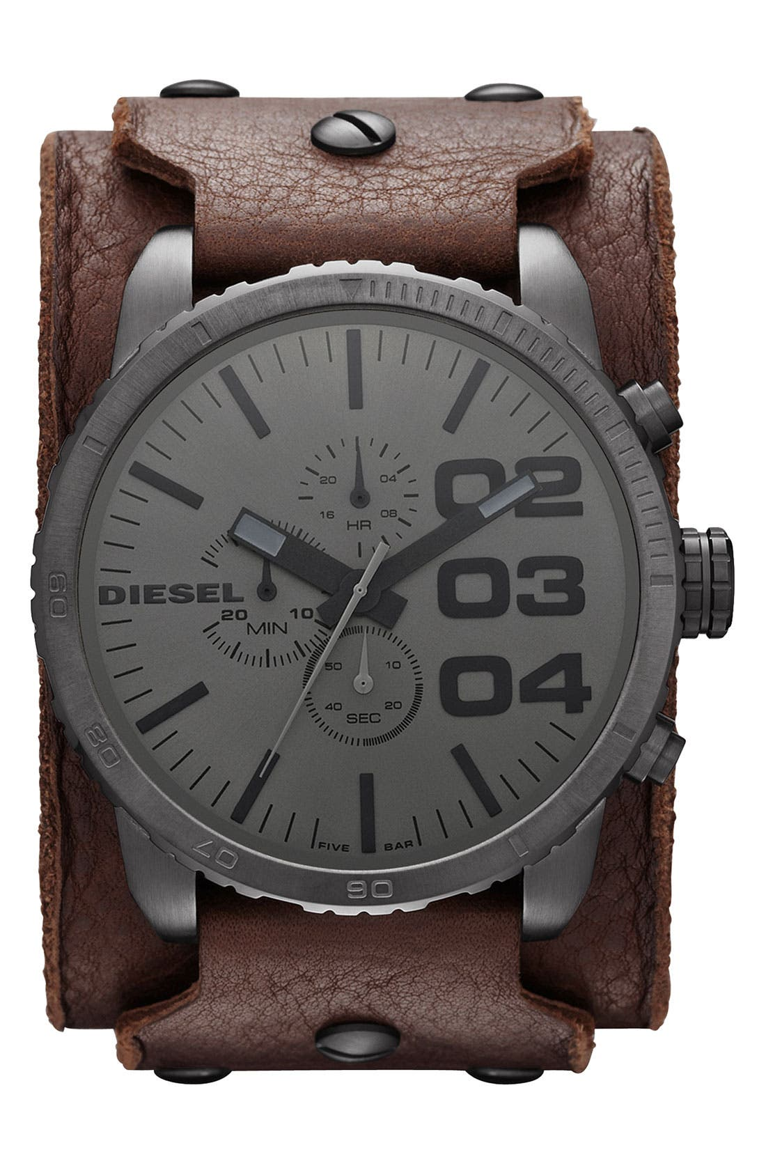 Alternate Image 1 Selected - DIESEL® 'Franchise' Large Leather Cuff Watch, 51mm