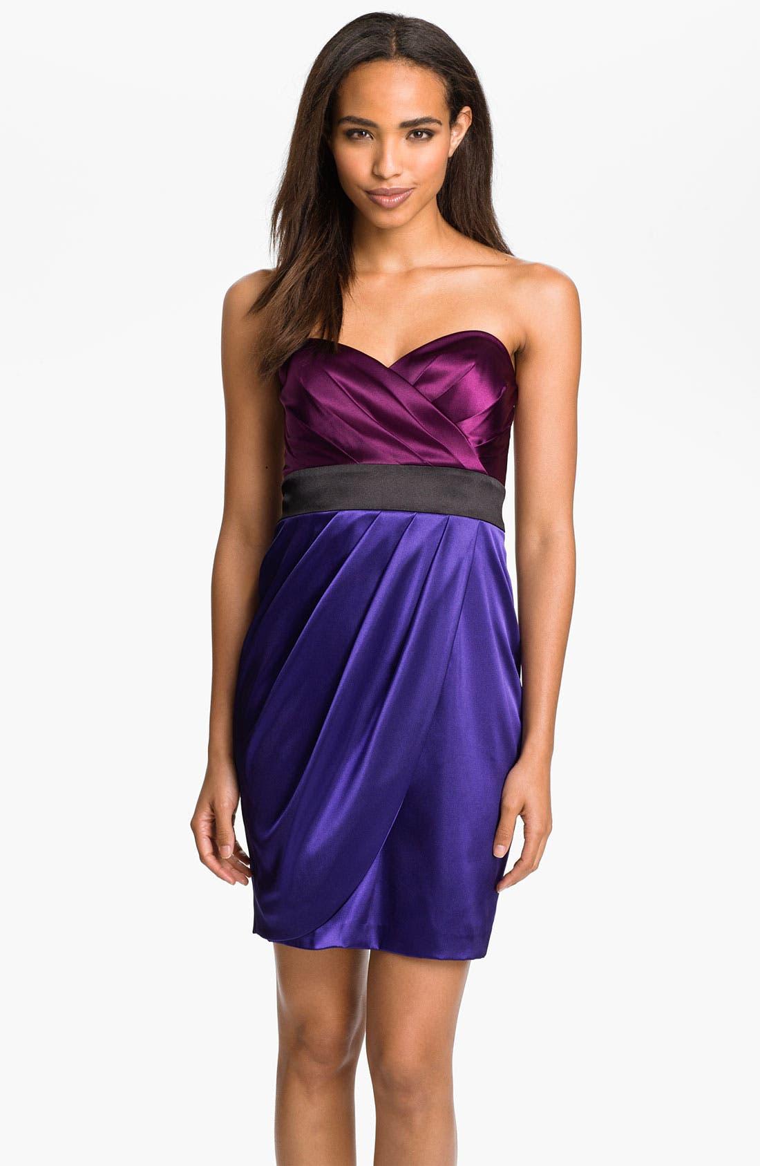 Main Image - Hailey by Adrianna Papell Colorblock Satin Sheath Dress
