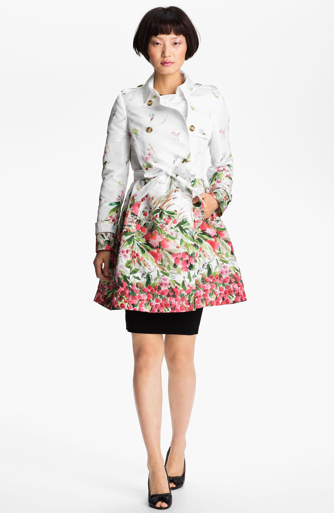 Main Image - RED Valentino Belted Print Faille Trench Coat