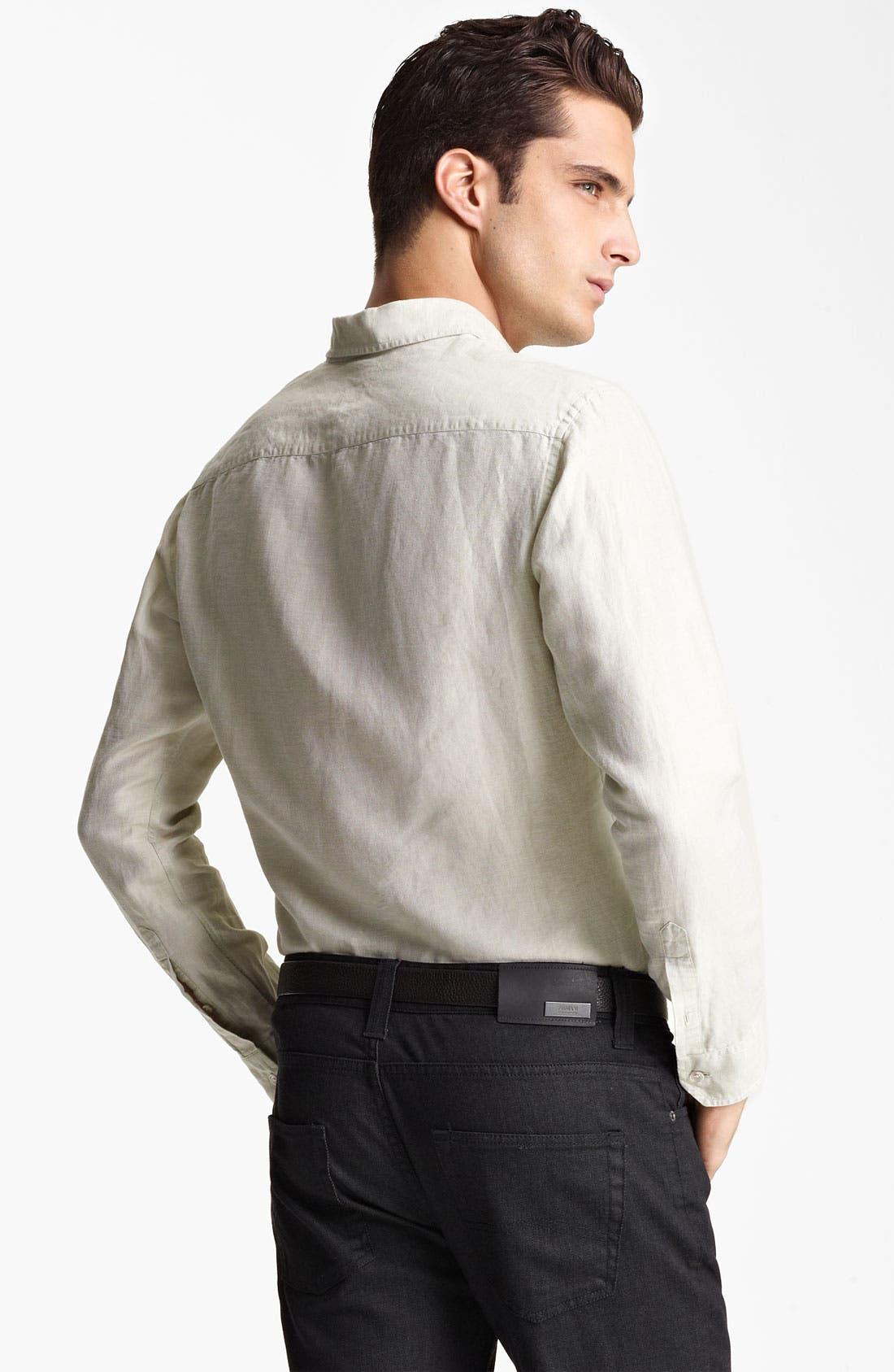 Alternate Image 2  - Armani Collezioni Linen & Cotton Sport Shirt