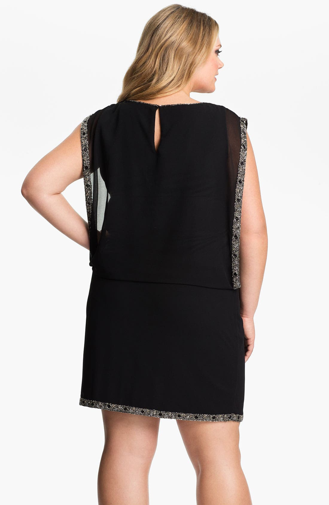 Alternate Image 2  - J Kara Beaded Trim Chiffon Blouson Dress (Plus)