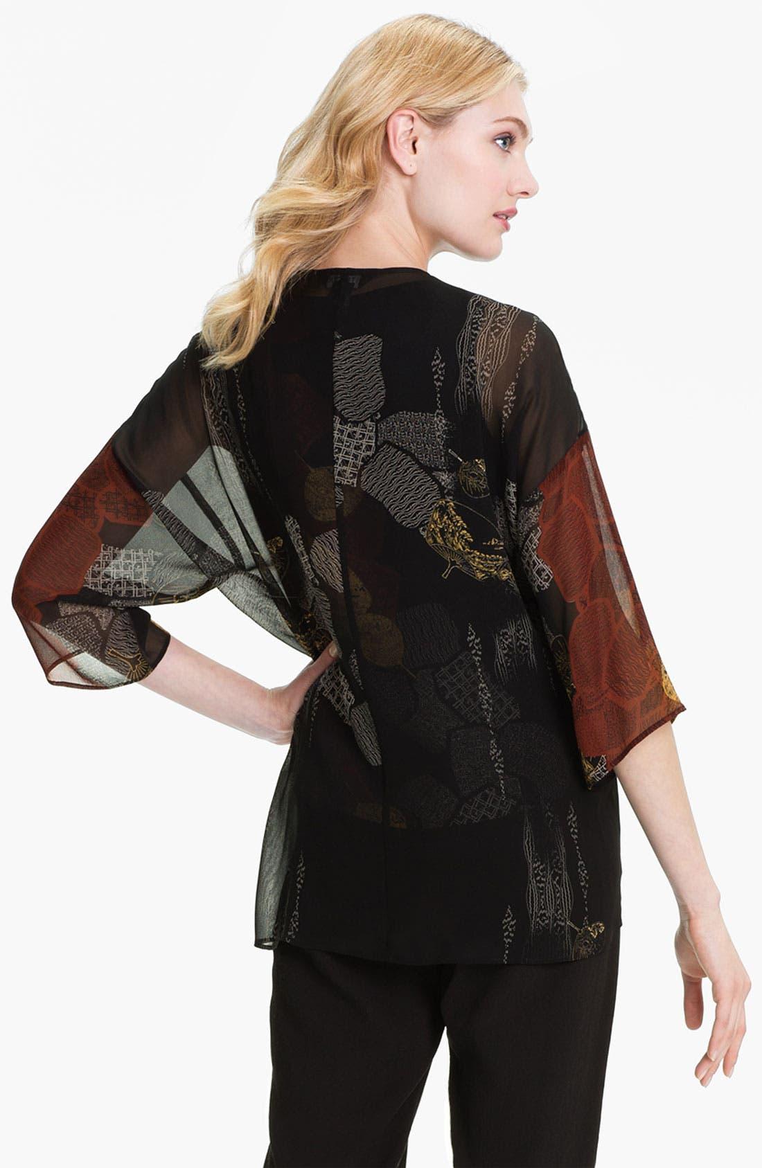 Alternate Image 2  - Citron Open Front Silk Jacket (Petite)