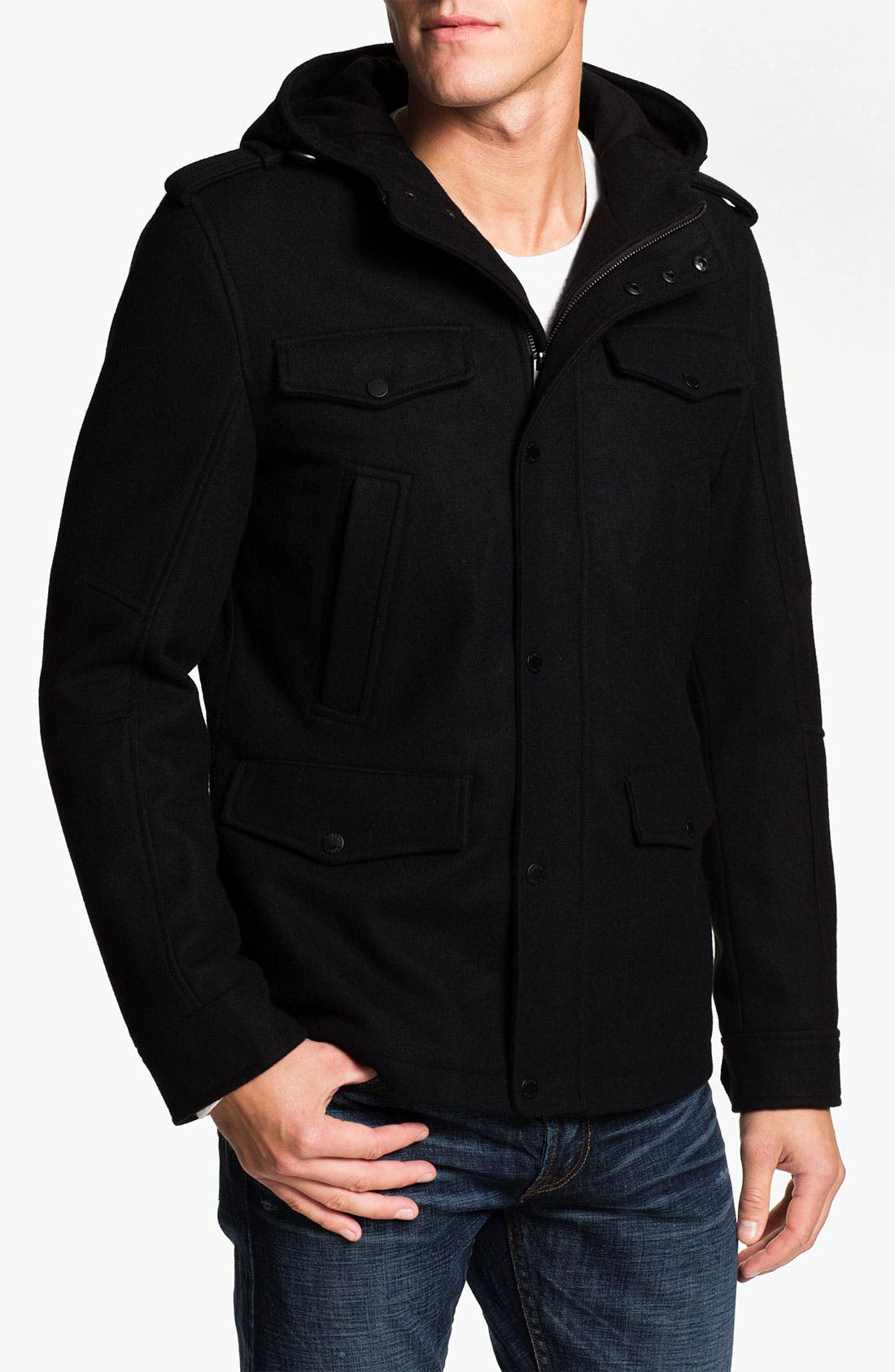 Main Image - Black Rivet Wool Blend Field Coat