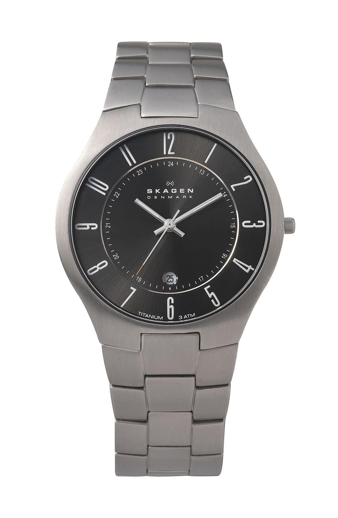 Alternate Image 1 Selected - Skagen Round Titanium Bracelet Watch, 34mm