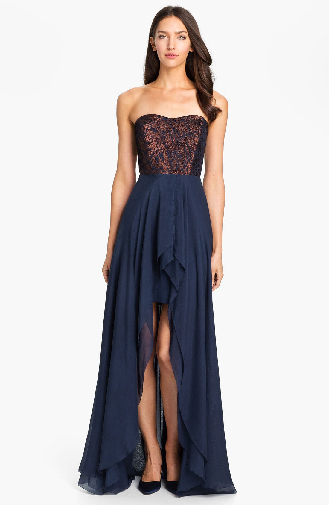 Alternate Image 1 Selected - Nicole Miller Strapless Jacquard Bodice High/Low Silk Gown