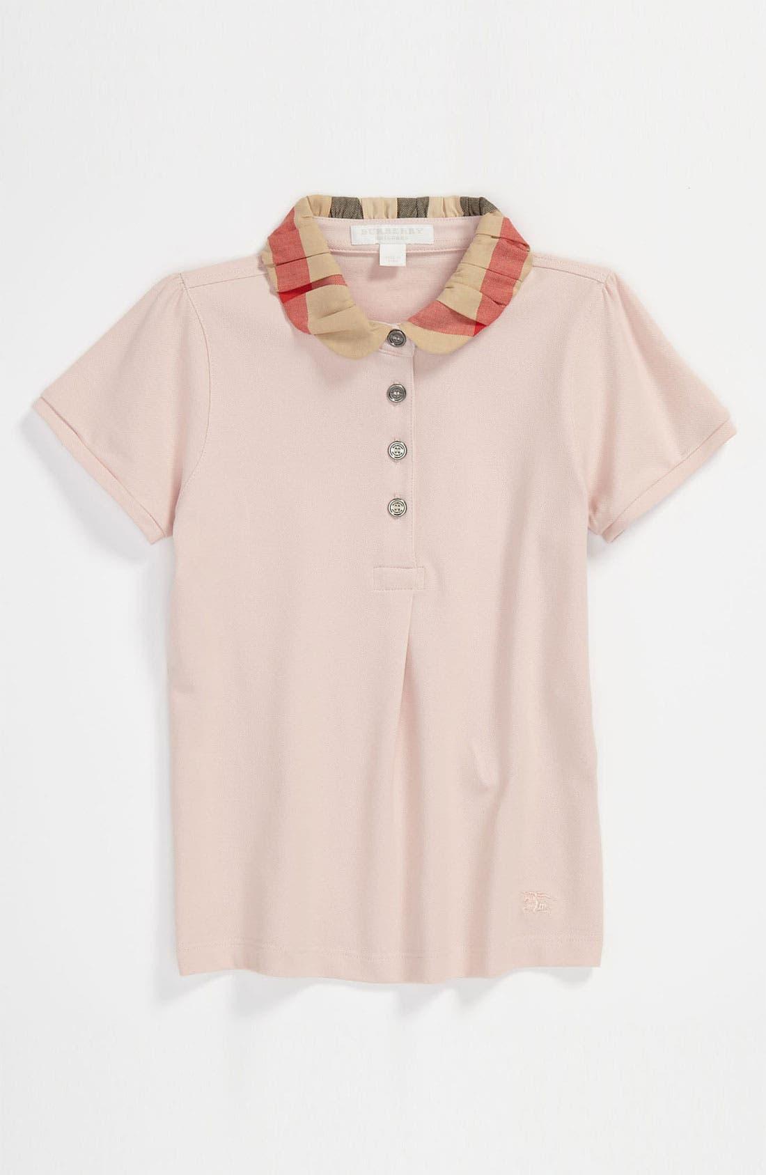 Alternate Image 1 Selected - Burberry Check Collar Polo (Little Girls & Big Girls)