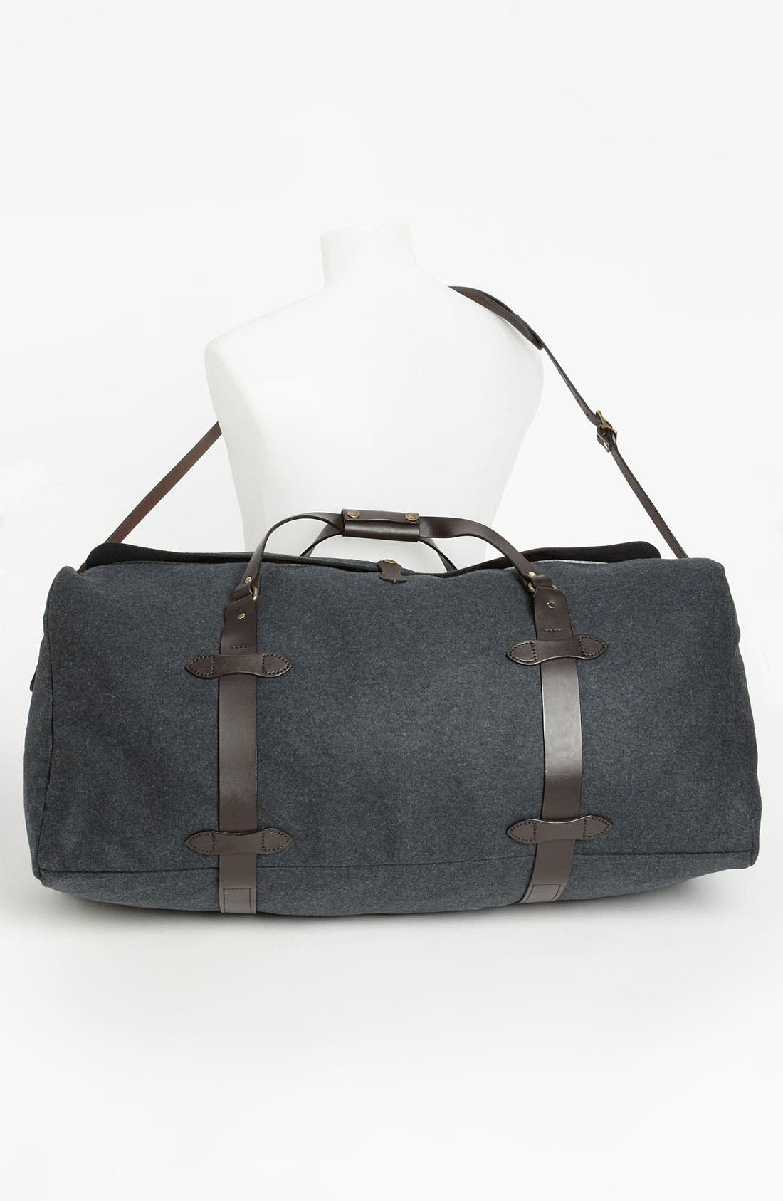 Large Wool Duffel Bag,                             Alternate thumbnail 4, color,                             Charcoal