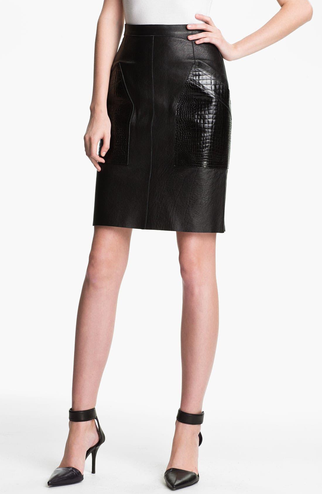 Alternate Image 1 Selected - Alexander Wang Patch Pocket Leather Skirt