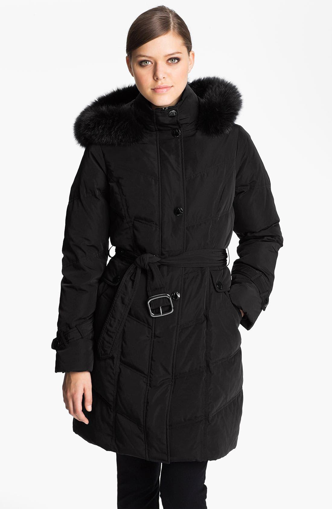 Main Image - Sachi Genuine Fox Fur Trim Down Walking Coat