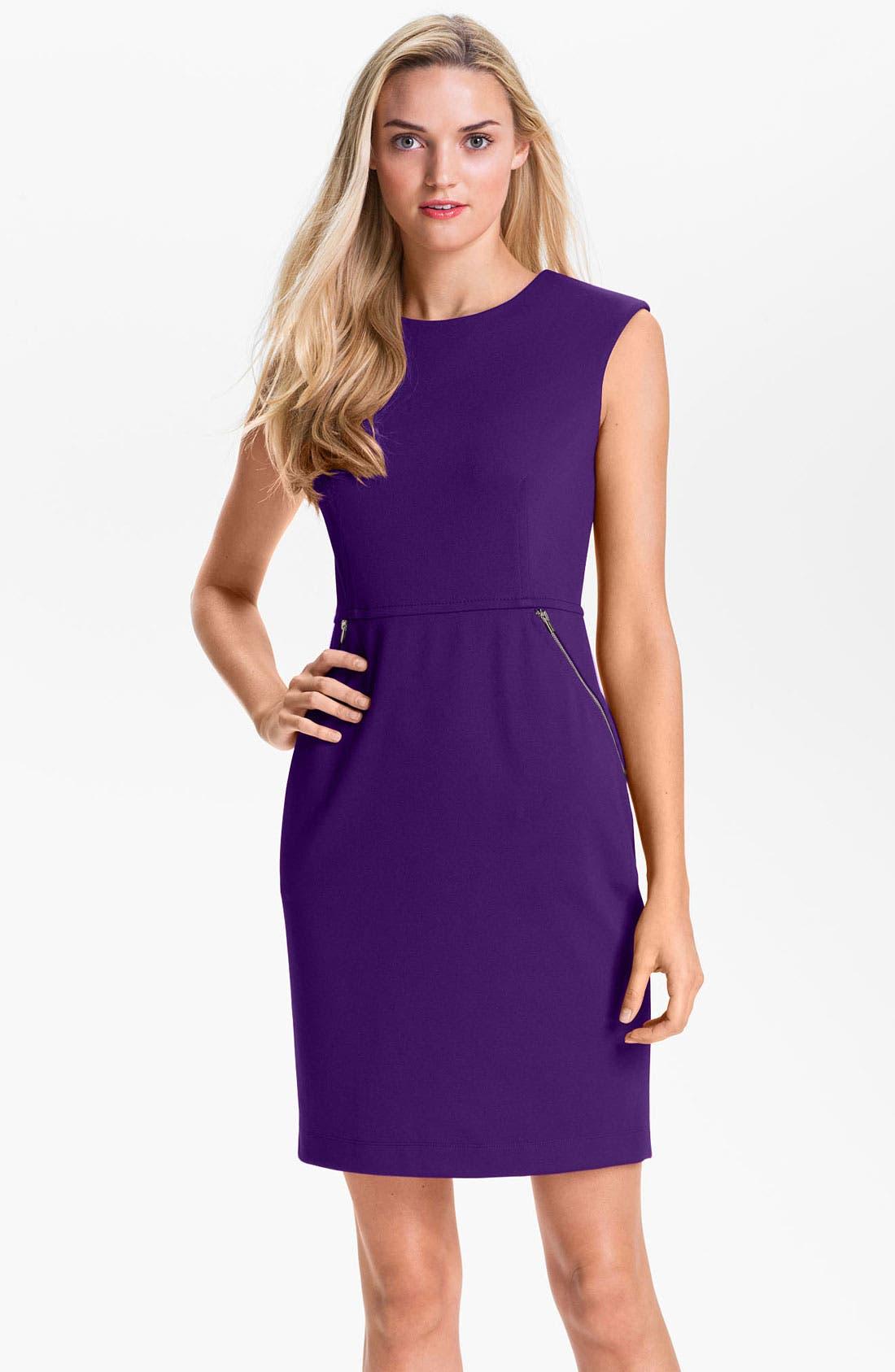 Main Image - Calvin Klein Zip Pocket Ponte Sheath Dress