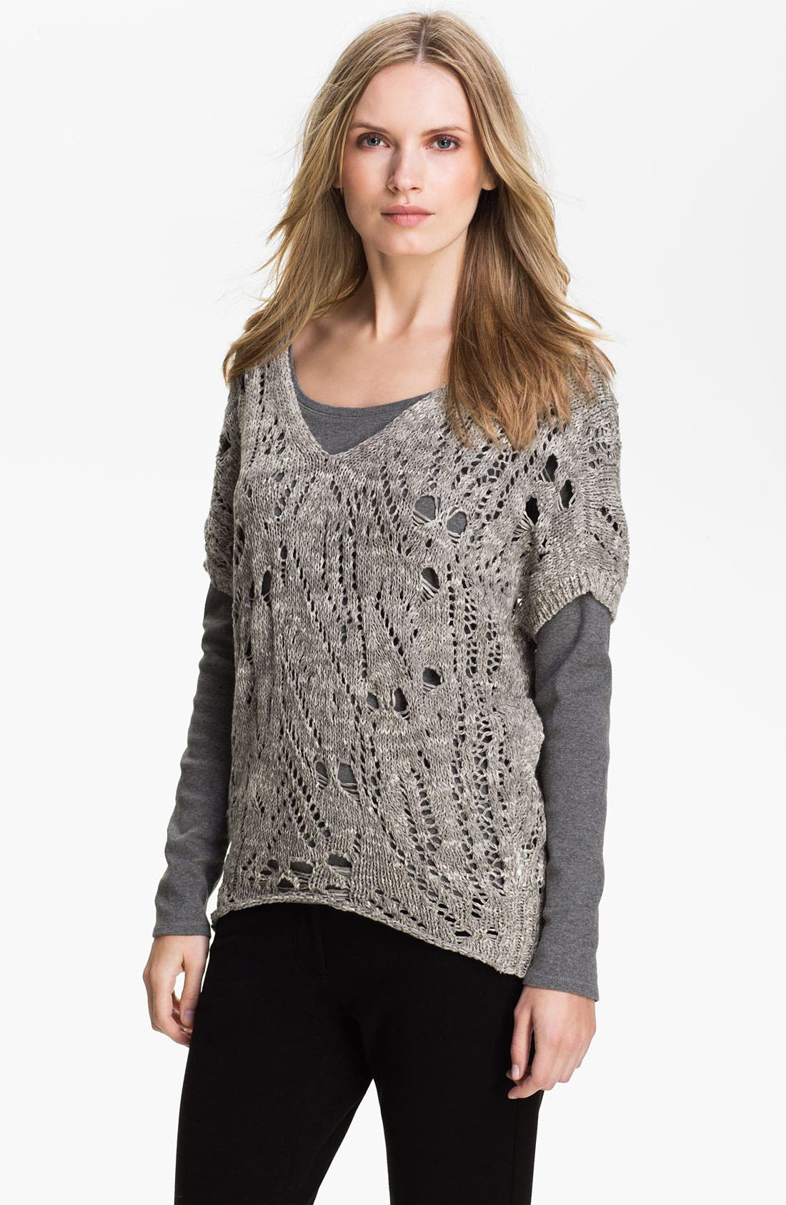 Alternate Image 1 Selected - Eileen Fisher V-Neck Wedge Sweater (Online Exclusive)