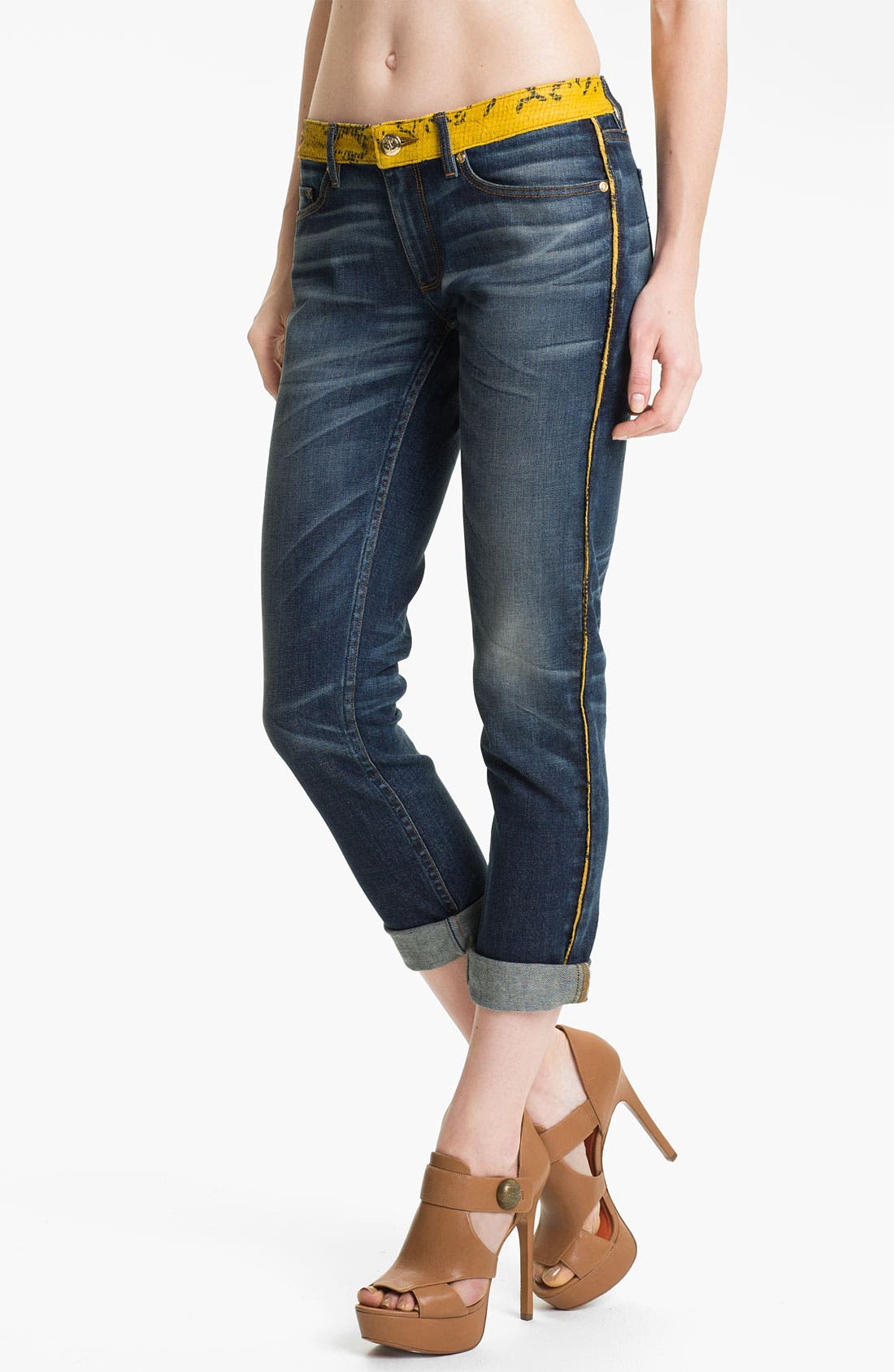Alternate Image 1 Selected - Juicy Couture 'Slouchy Skinny' Leather Trim Jeans (Bleeker)