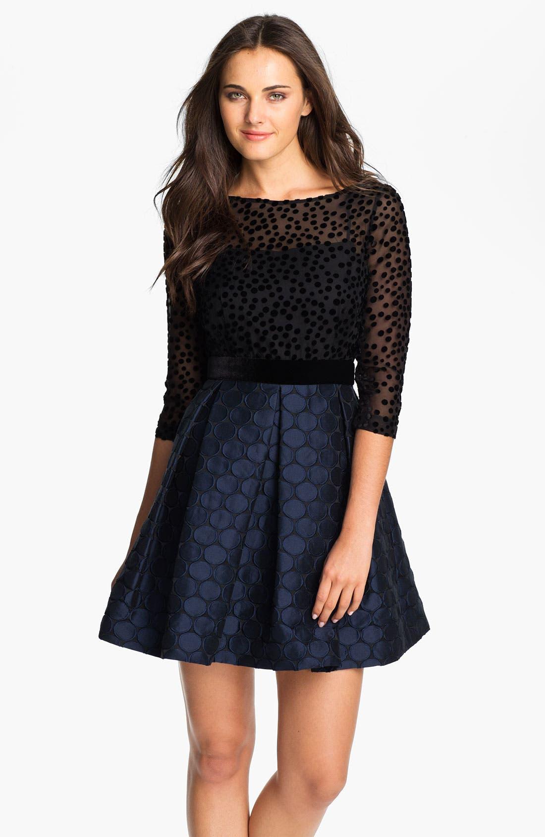 Alternate Image 1 Selected - Taylor Dresses Burnout Bodice Jacquard Fit & Flare Dress